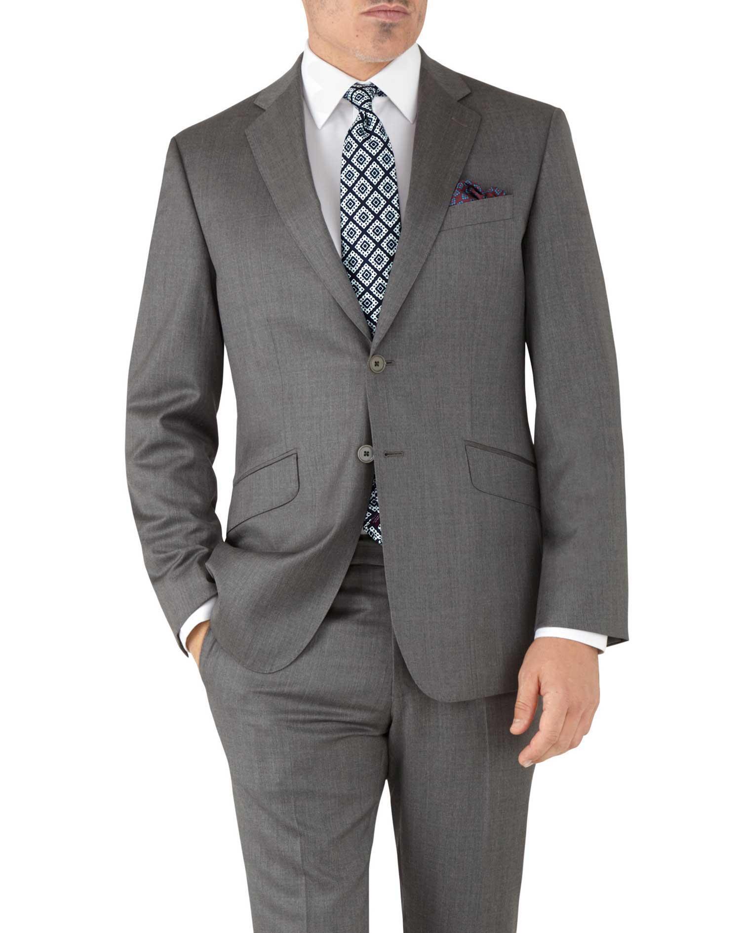 Grey Slim Fit Italian Suit Wool Jacket Size 42 Short by Charles Tyrwhitt