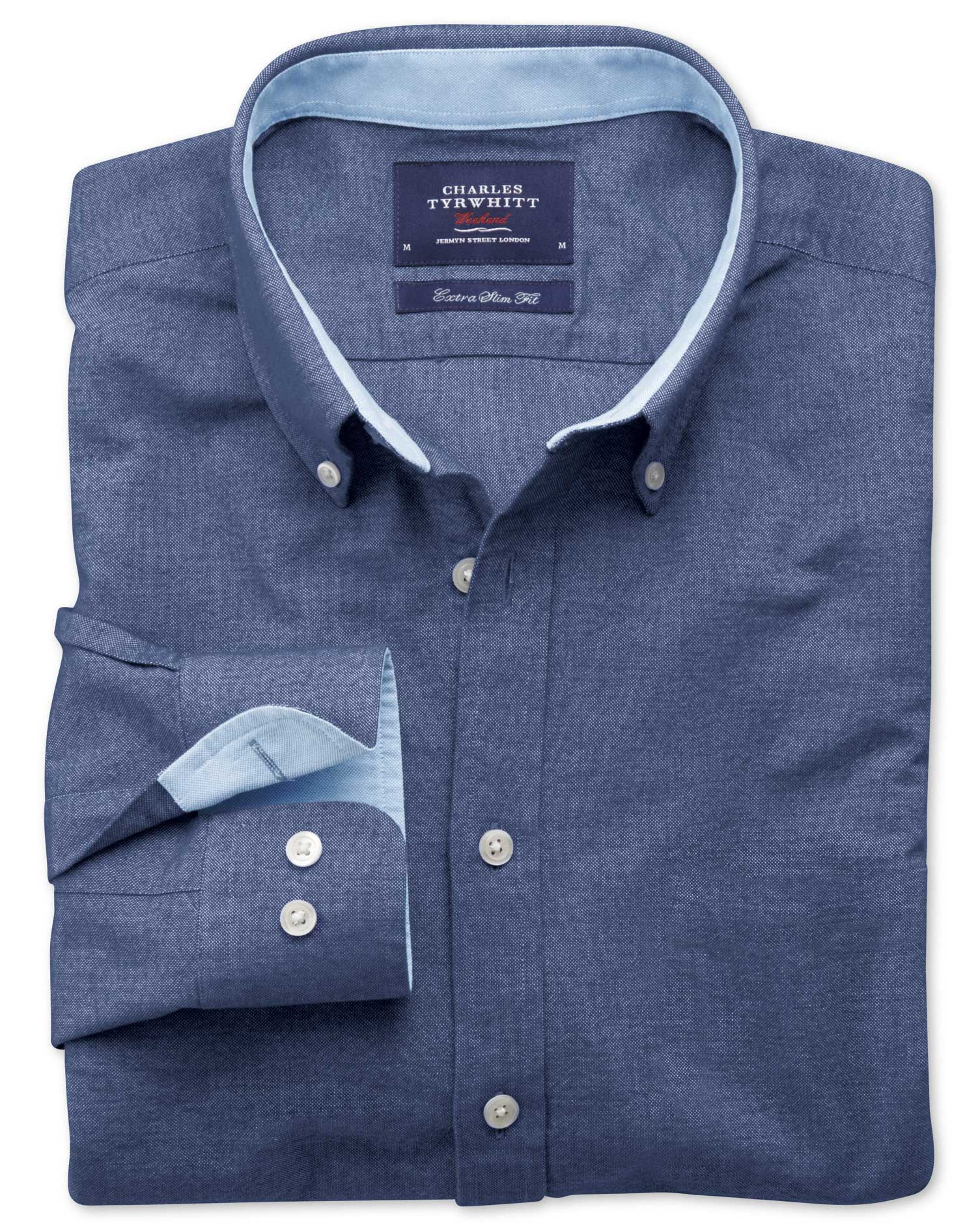 Extra Slim Fit Denim Blue Washed Oxford Cotton Shirt Single Cuff Size XS by Charles Tyrwhitt