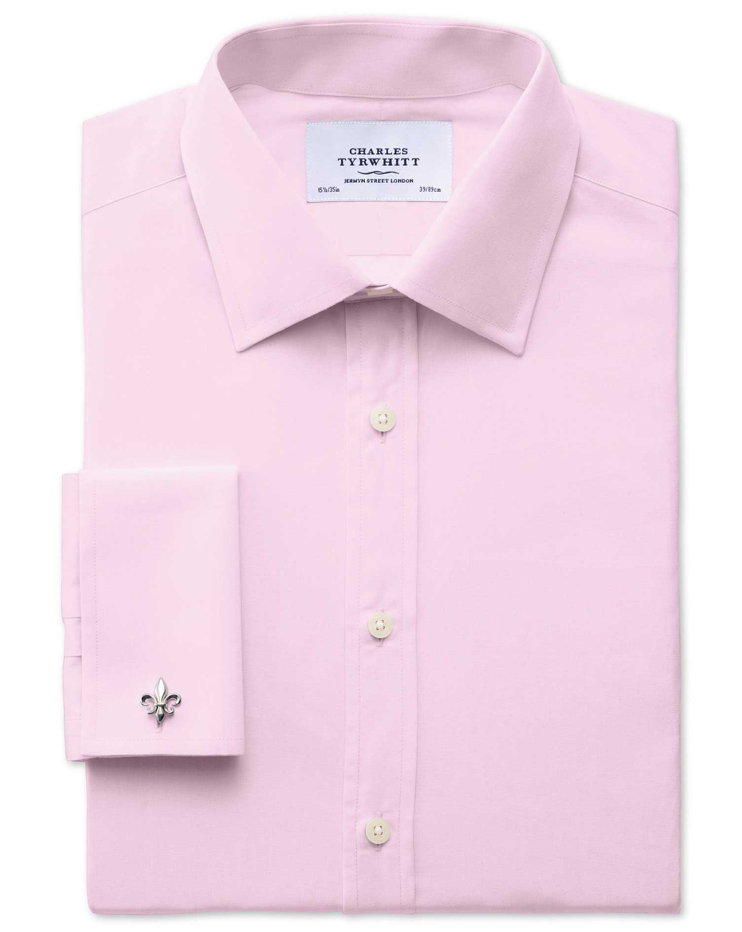 Extra Slim Fit End-On-End Pink Cotton Formal Shirt Double Cuff Size 16.5/38 by Charles Tyrwhitt