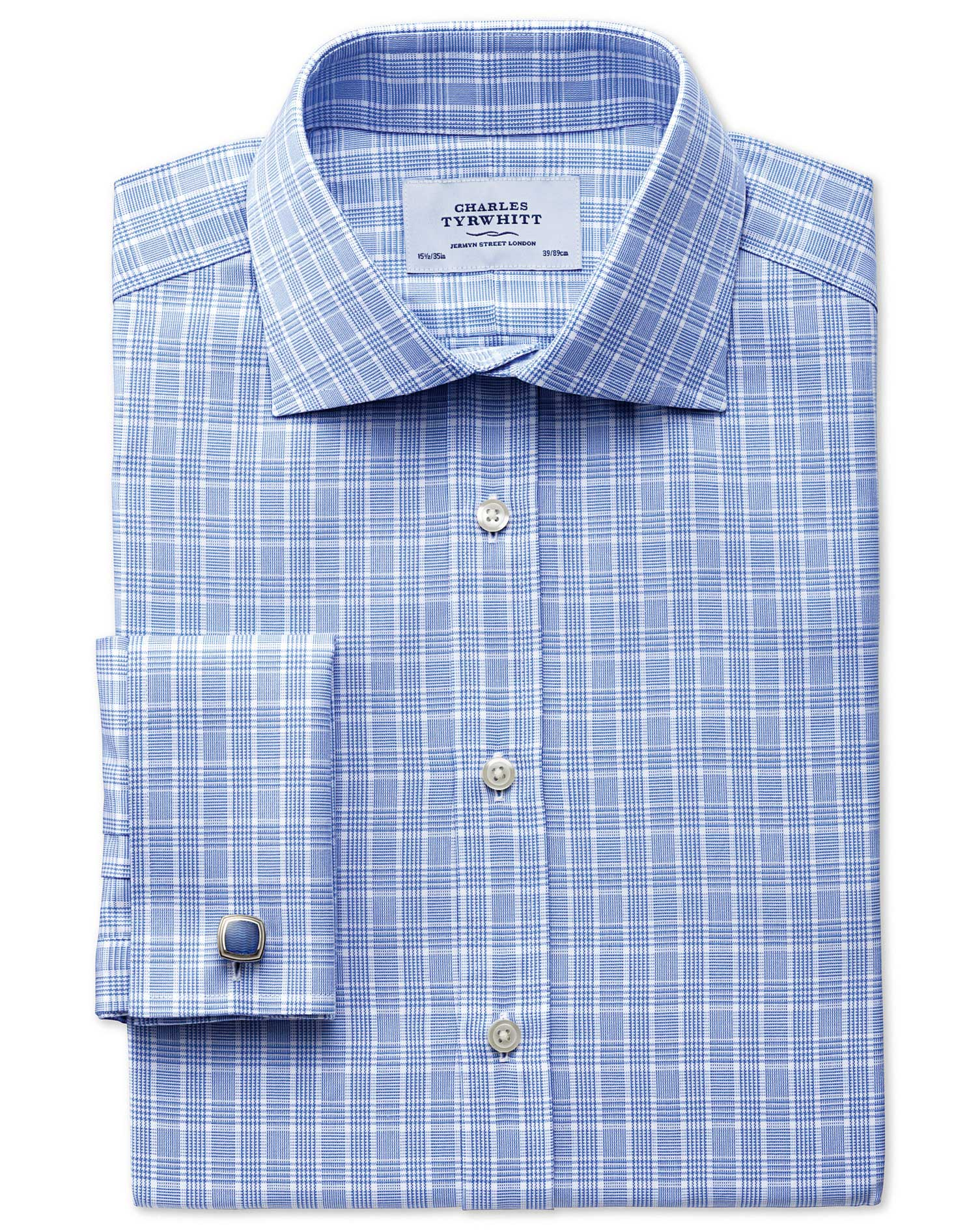 Slim Fit Prince Of Wales Basketweave Sky Blue Cotton Formal Shirt Double Cuff Size 14.5/33 by Charle