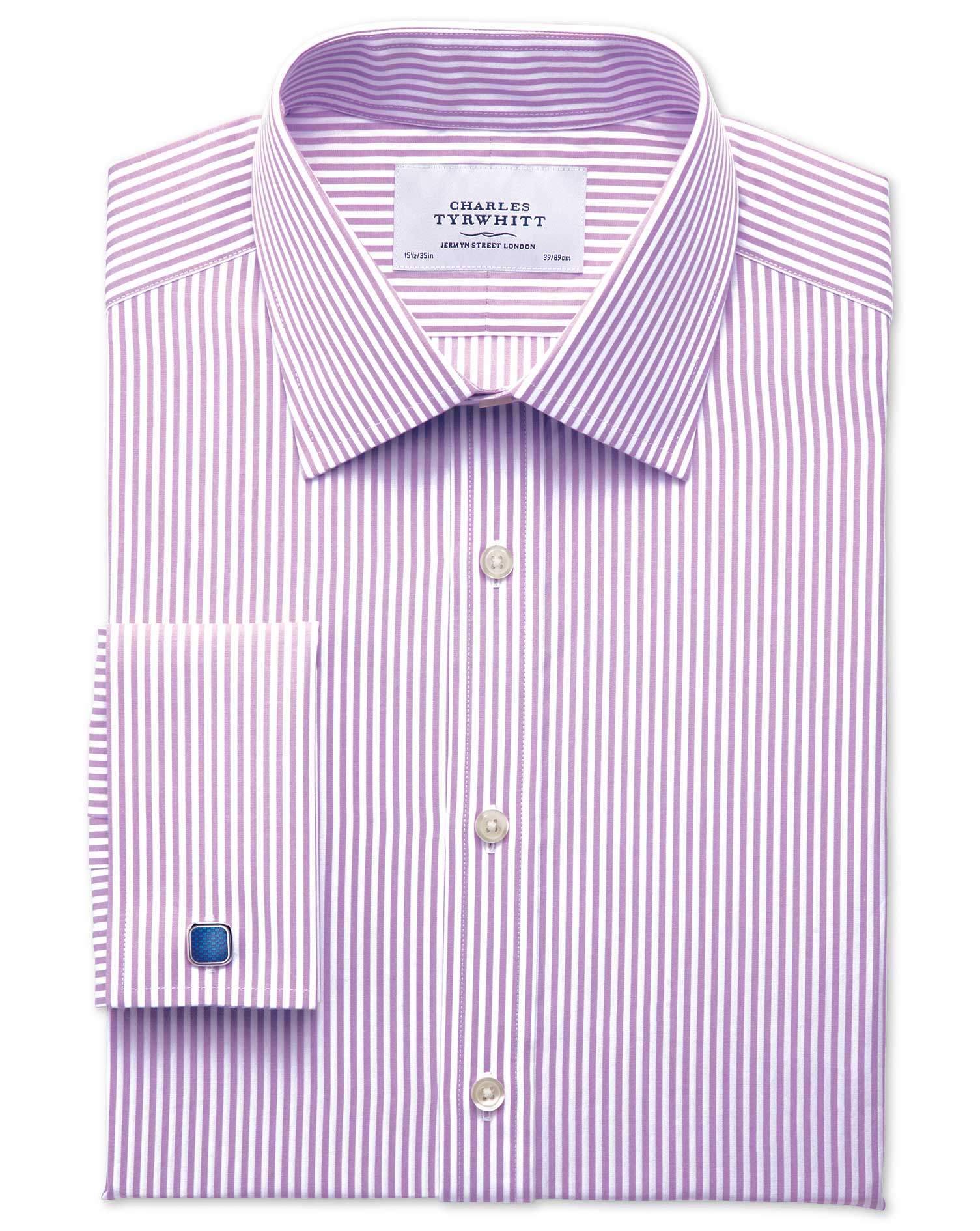 Slim Fit Bengal Stripe Lilac Cotton Formal Shirt Single Cuff Size 16/34 by Charles Tyrwhitt