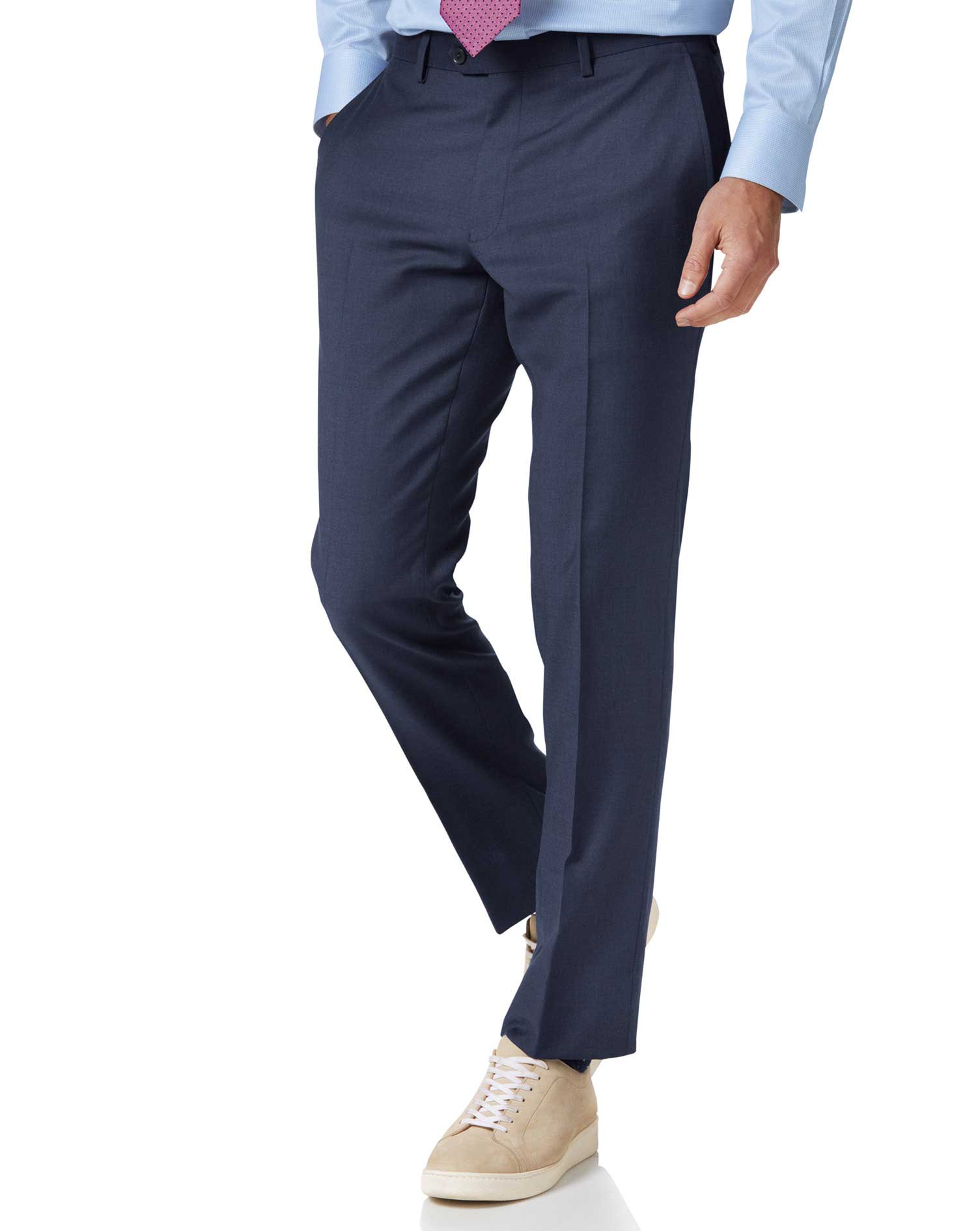 Mid Blue Slim Fit Twill Business Suit Trouser Size W38 L32 by Charles Tyrwhitt