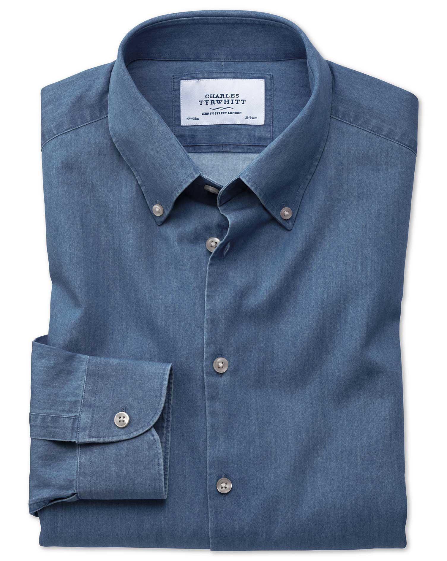 Slim Fit Button-Down Business Casual Indigo Mid Blue Cotton Formal Shirt Single Cuff Size 17/34 by C