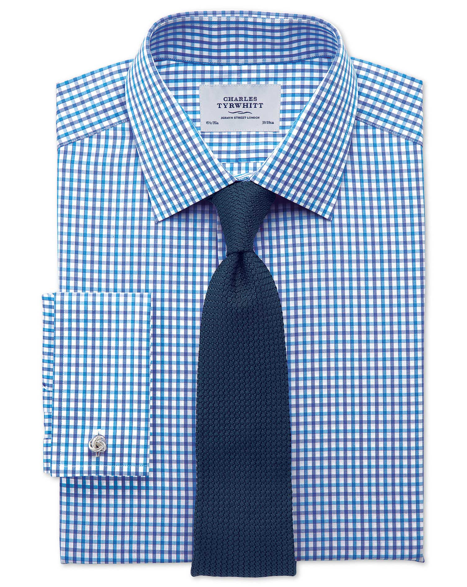 Extra Slim Fit Two Colour Check Blue Cotton Formal Shirt Single Cuff Size 16.5/35 by Charles Tyrwhit