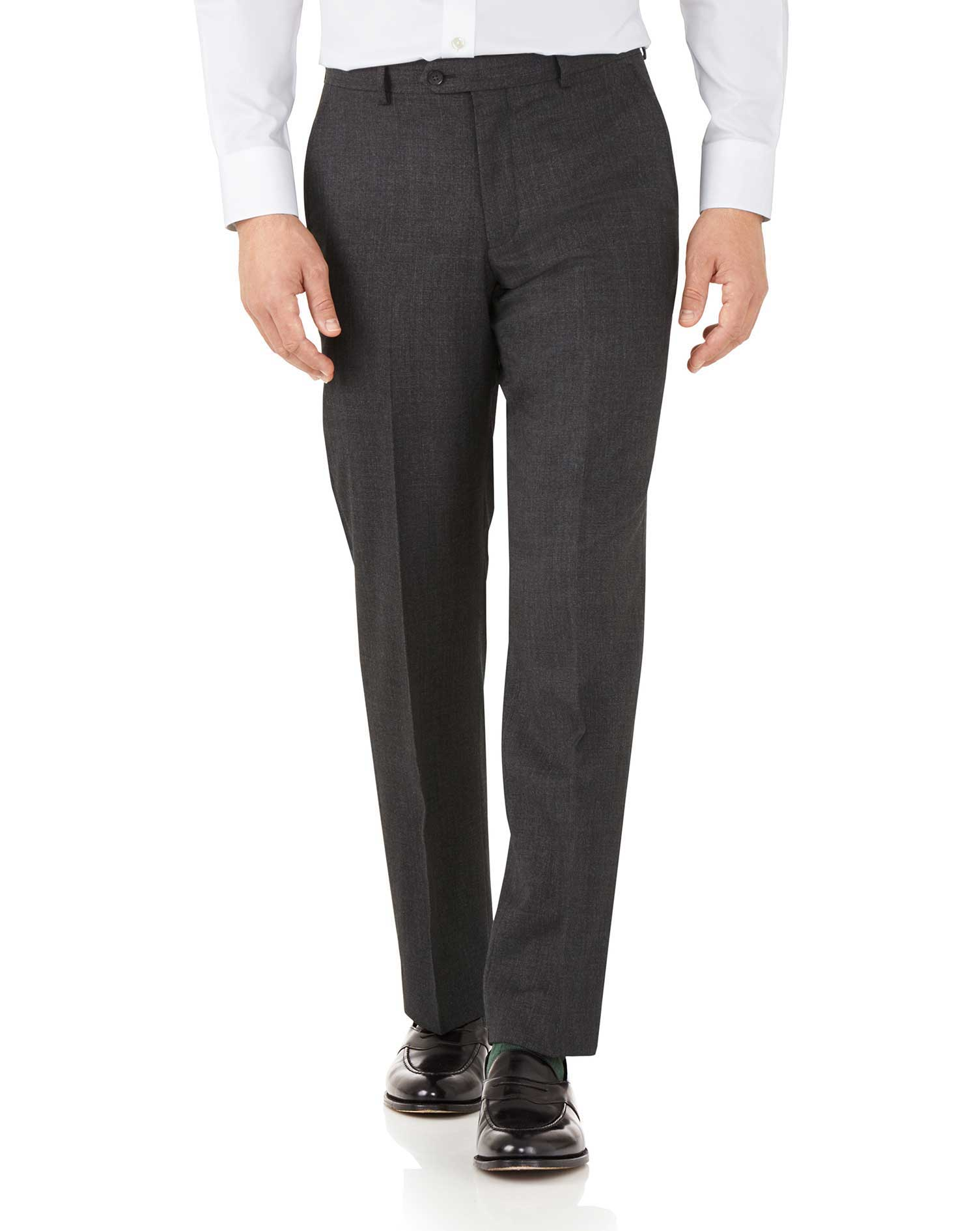 Charcoal classic fit hairline business suit pants