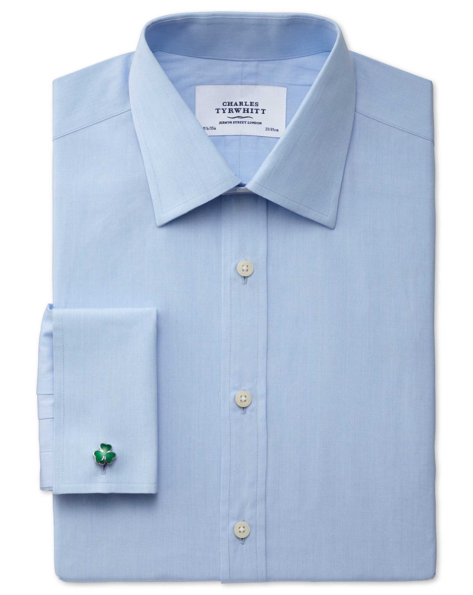 Classic Fit End-On-End Sky Blue Cotton Formal Shirt Single Cuff Size 16/34 by Charles Tyrwhitt