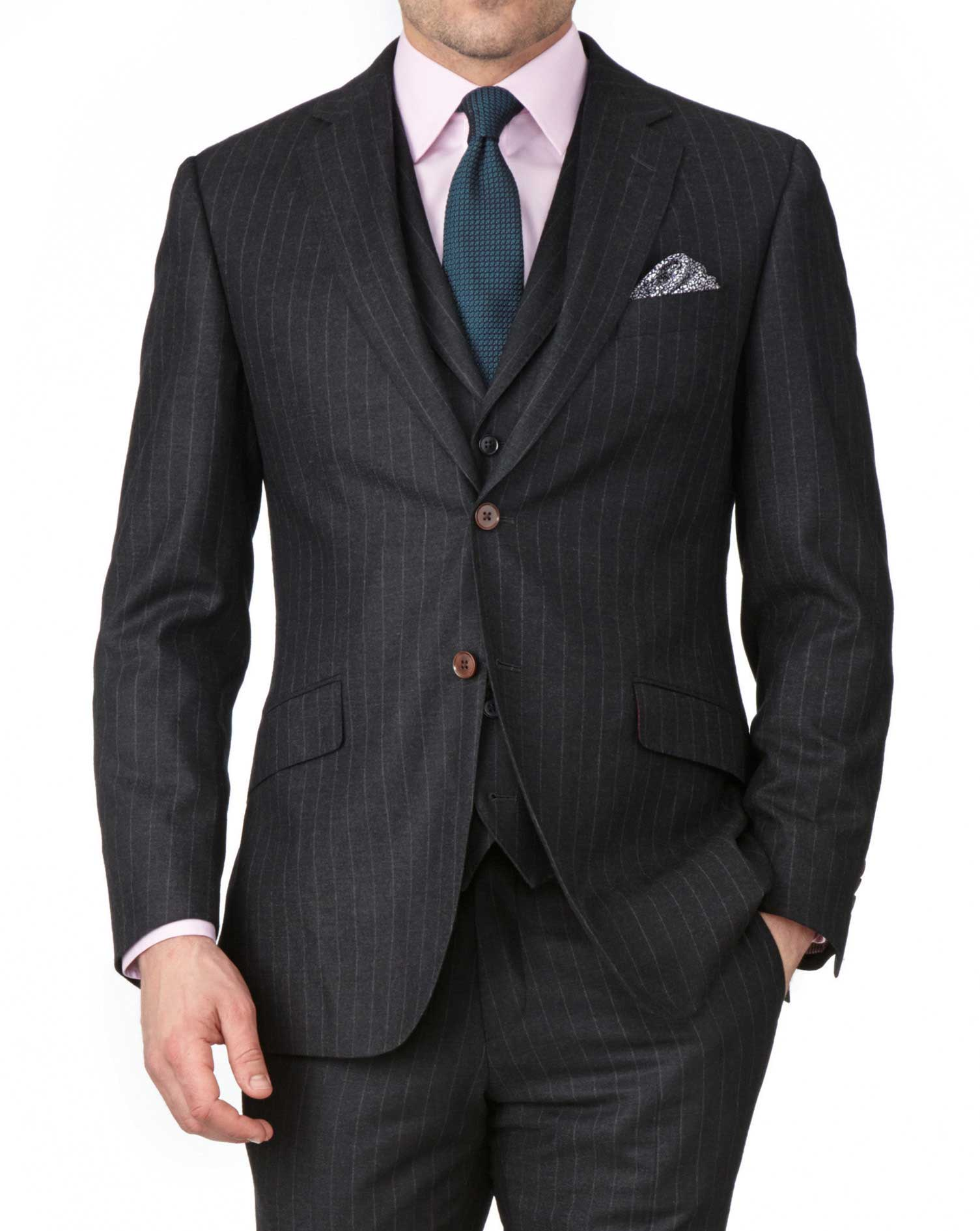 Charcoal Slim Fit Saxony Business Suit Wool Jacket Size 38 Short by Charles Tyrwhitt