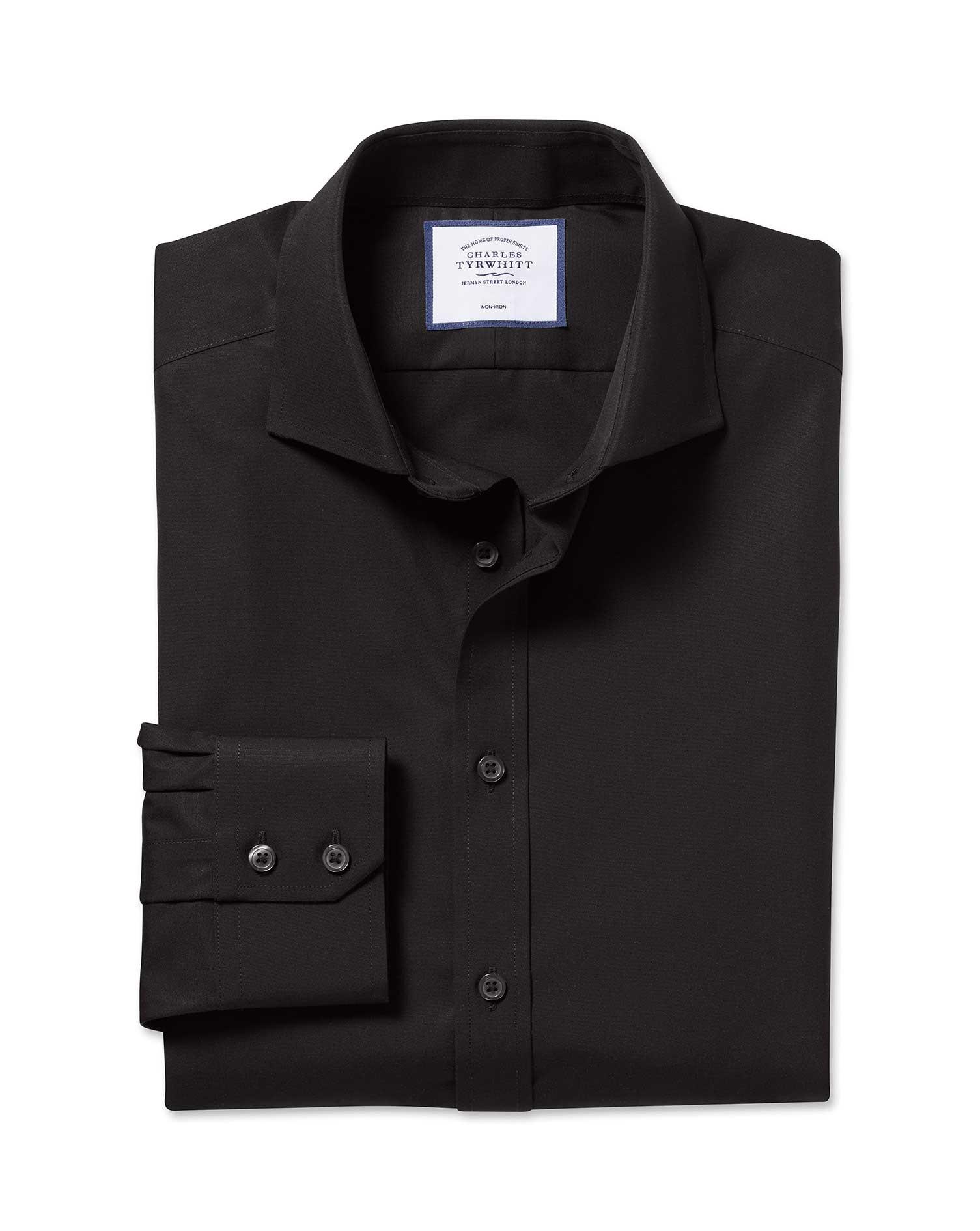 Slim Fit Cutaway Non-Iron Poplin Black Cotton Formal Shirt Single Cuff Size 16/38 by Charles Tyrwhit