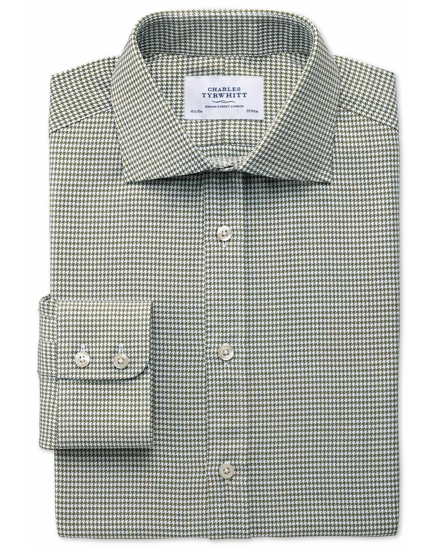 Extra Slim Fit Semi-Cutaway Collar Melange Puppytooth Khaki Cotton Formal Shirt Single Cuff Size 17.