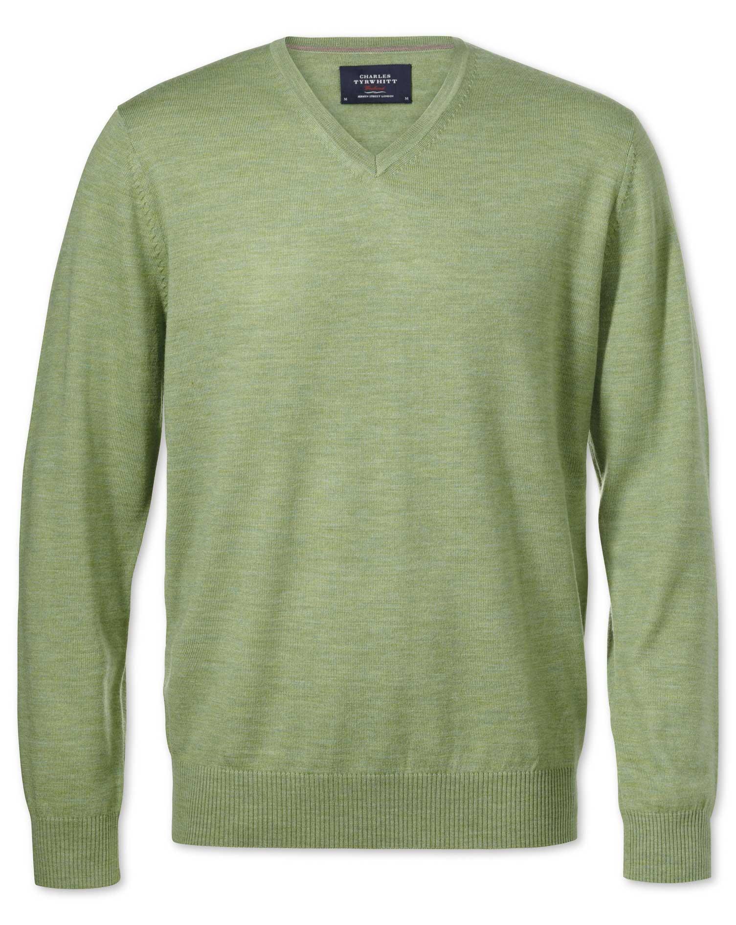 Light Green Merino Wool V-Neck Jumper Size XL by Charles Tyrwhitt
