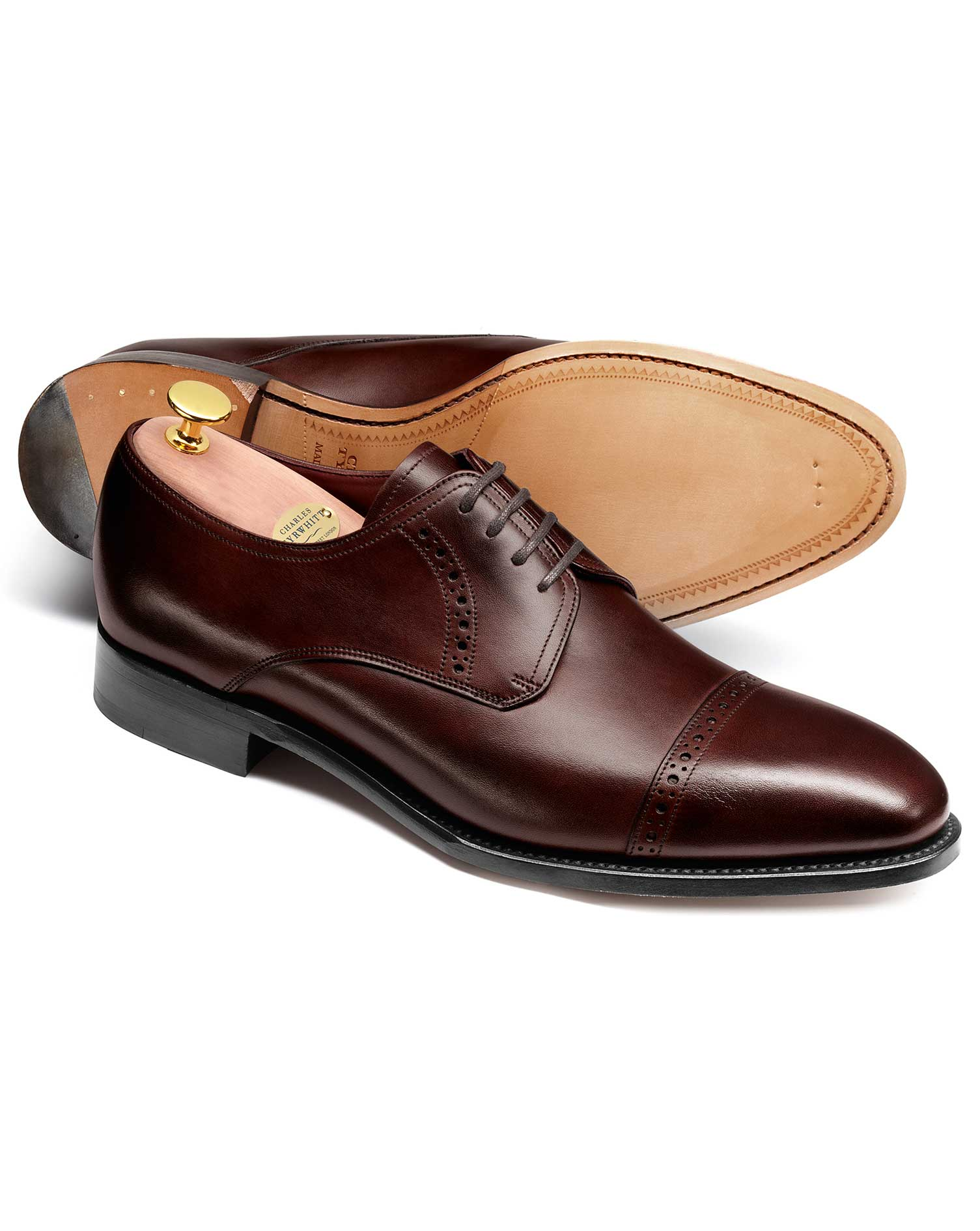 Brown Hallworthy Calf Leather Toe Cap Brogue Derby Shoes Size 11 W by Charles Tyrwhitt