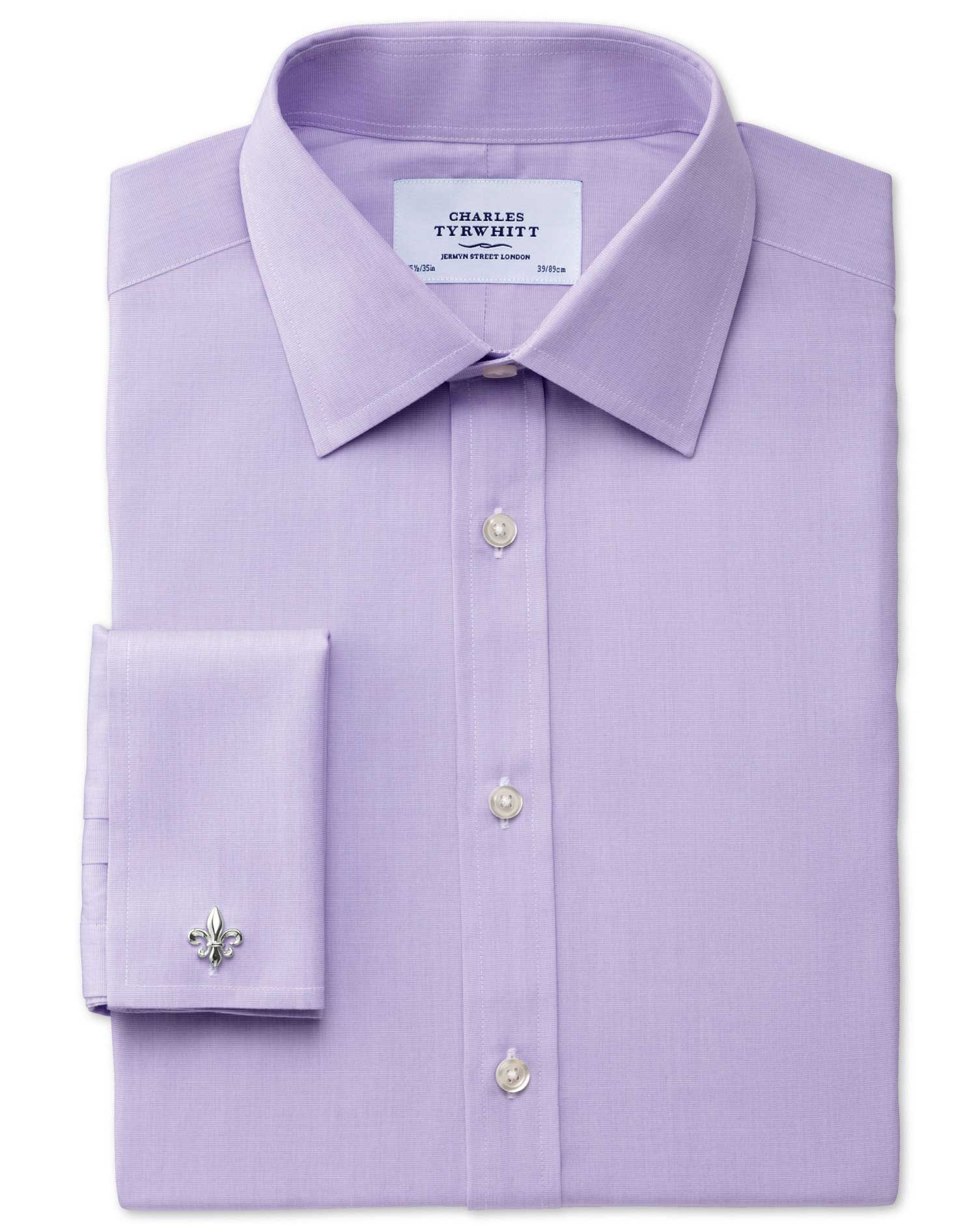 Classic Fit End-On-End Lilac Cotton Formal Shirt Double Cuff Size 17/38 by Charles Tyrwhitt