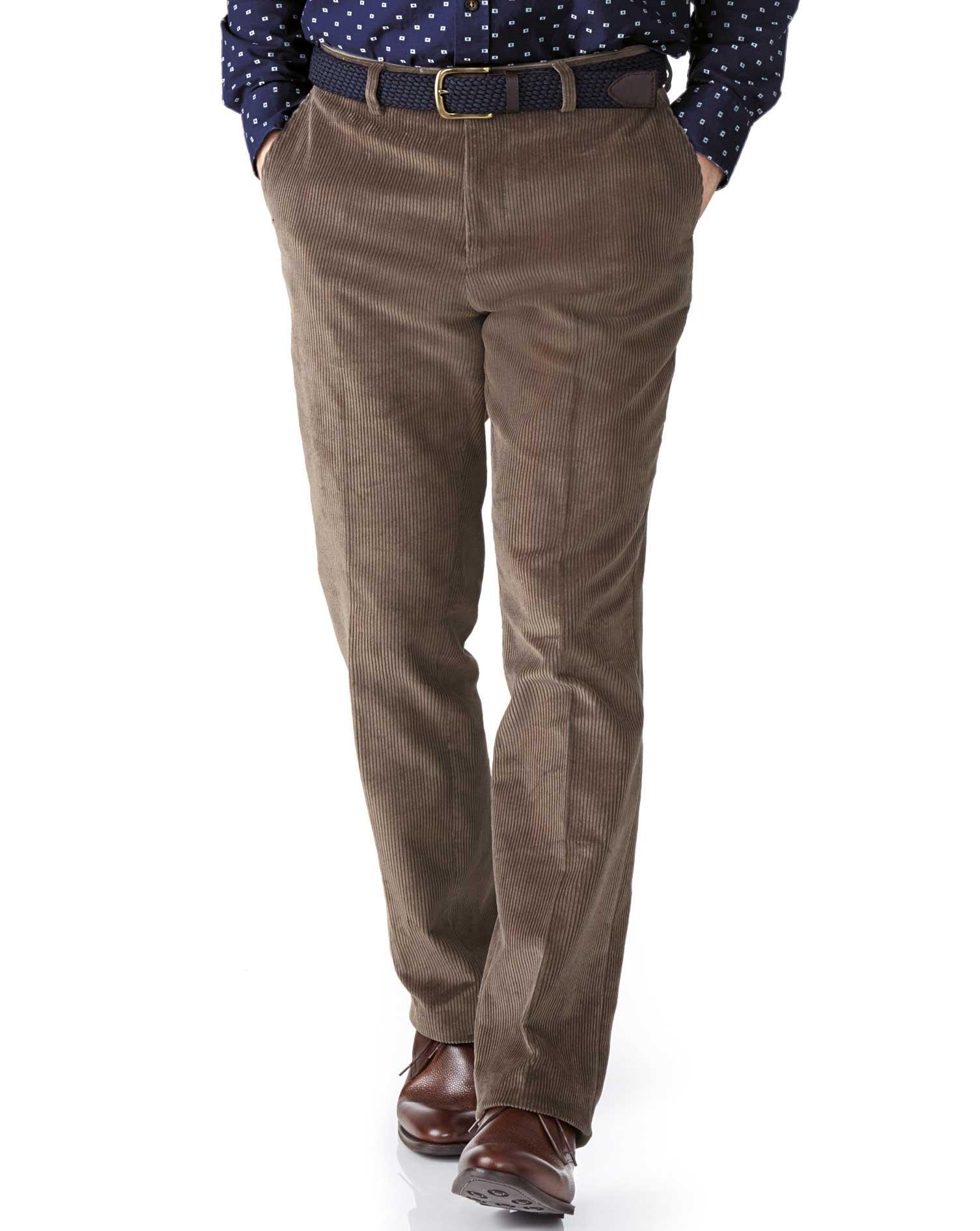 Beige Slim Fit Jumbo Cord Trouser Size W42 L30 by Charles Tyrwhitt