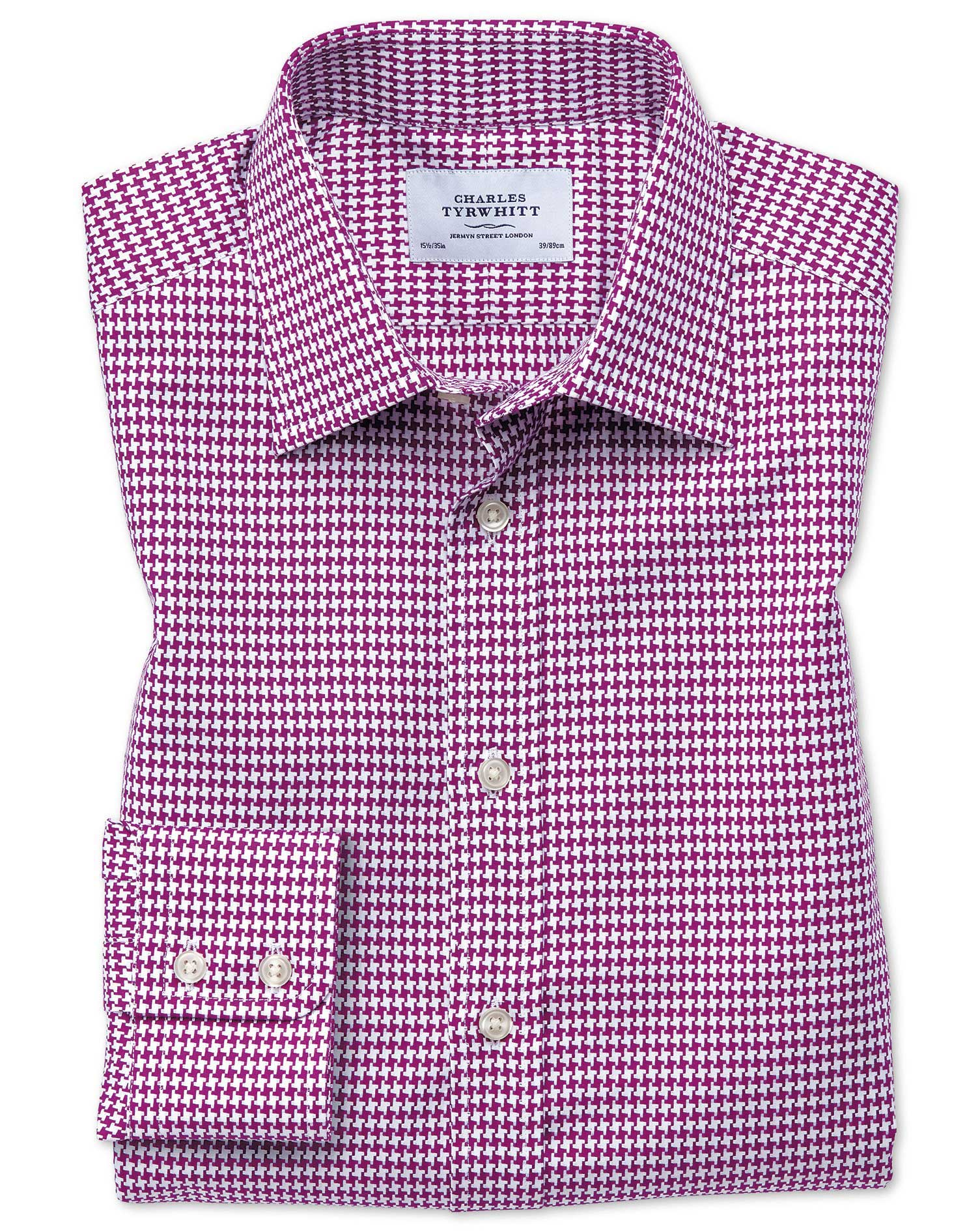 Slim Fit Large Puppytooth Berry Cotton Formal Shirt Single Cuff Size 17.5/36 by Charles Tyrwhitt