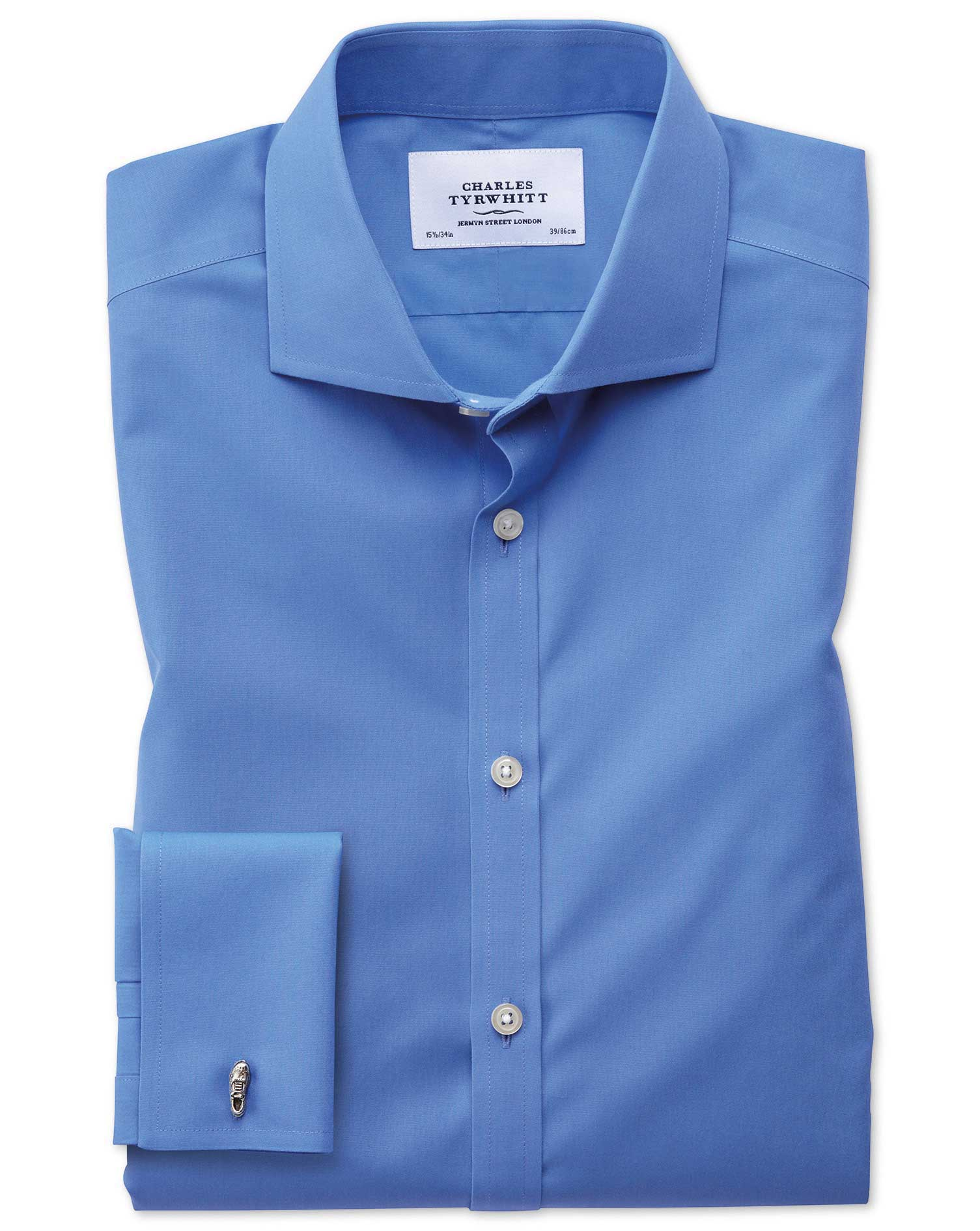 Extra Slim Fit Cutaway Non-Iron Poplin Blue Cotton Formal Shirt Single Cuff Size 17/34 by Charles Ty