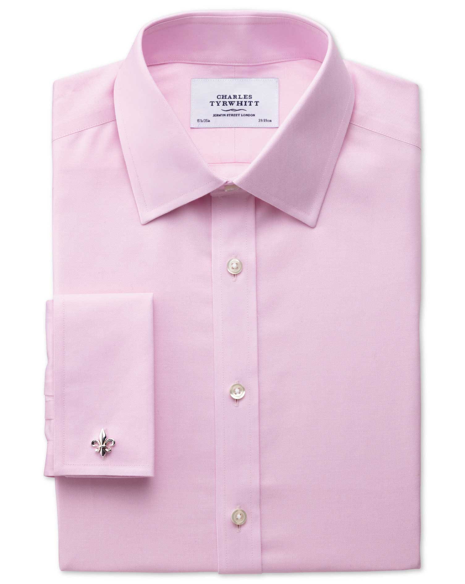Extra Slim Fit Non-Iron Twill Pink Cotton Formal Shirt Double Cuff Size 16.5/36 by Charles Tyrwhitt