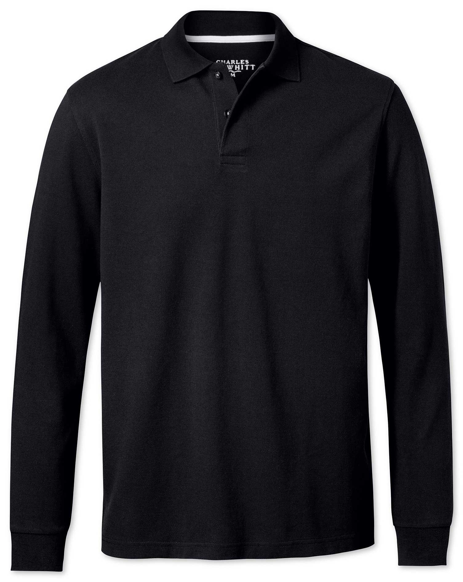 Black Pique Long Sleeve Cotton Polo Size Large by Charles Tyrwhitt