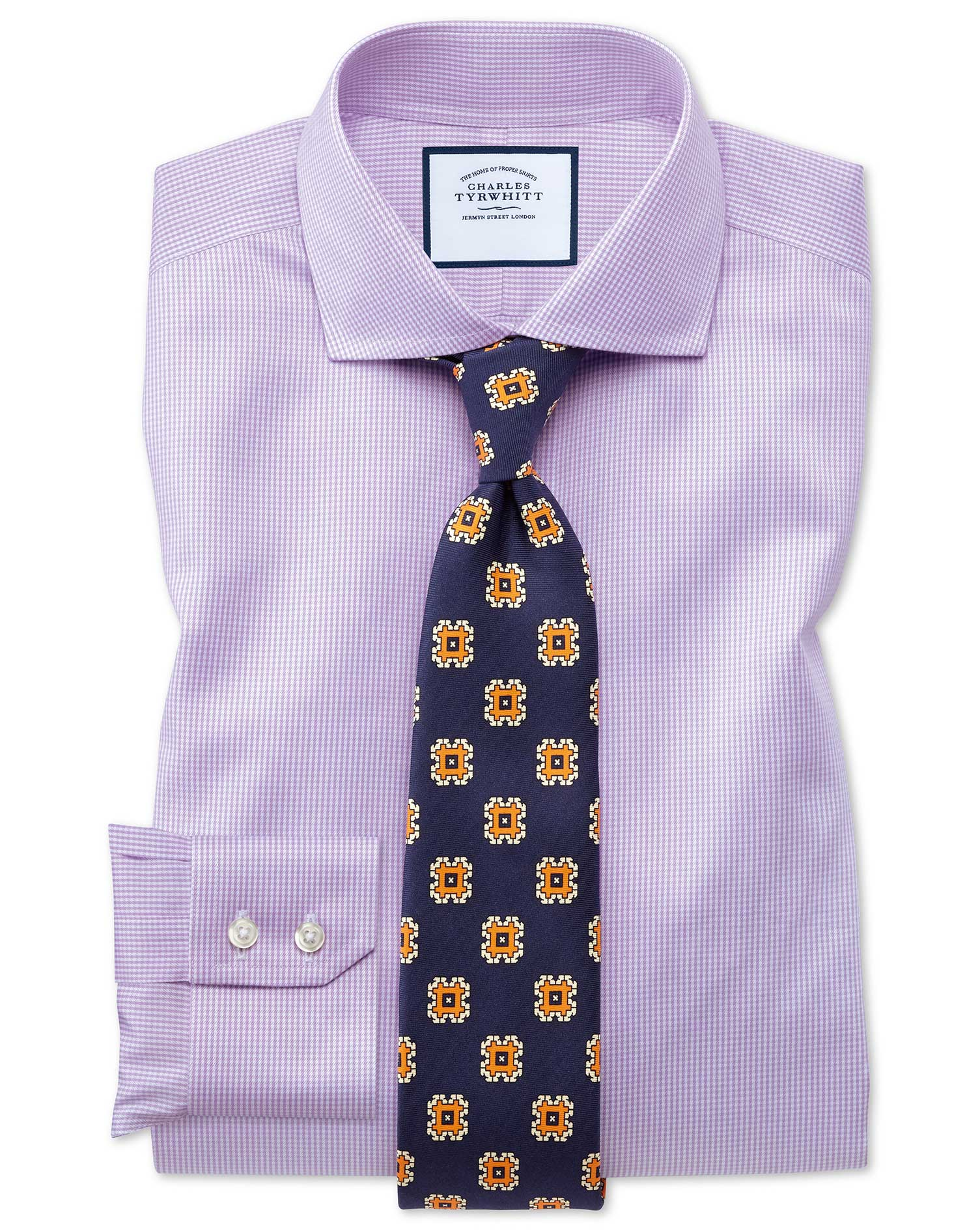 Slim Fit Cutaway Non-Iron Puppytooth Lilac Cotton Formal Shirt Single Cuff Size 16/38 by Charles Tyr