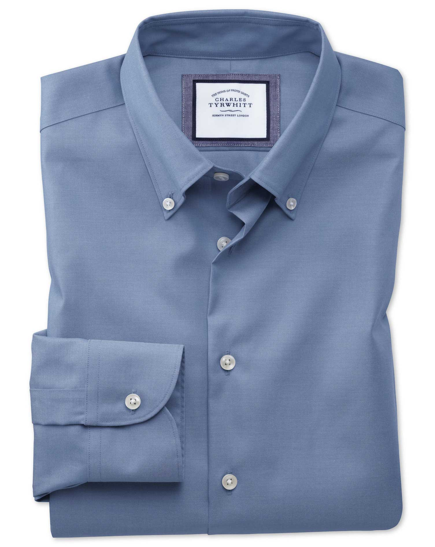 Extra Slim Fit Button-Down Business Casual Non-Iron Mid Blue Cotton Formal Shirt Single Cuff Size 16