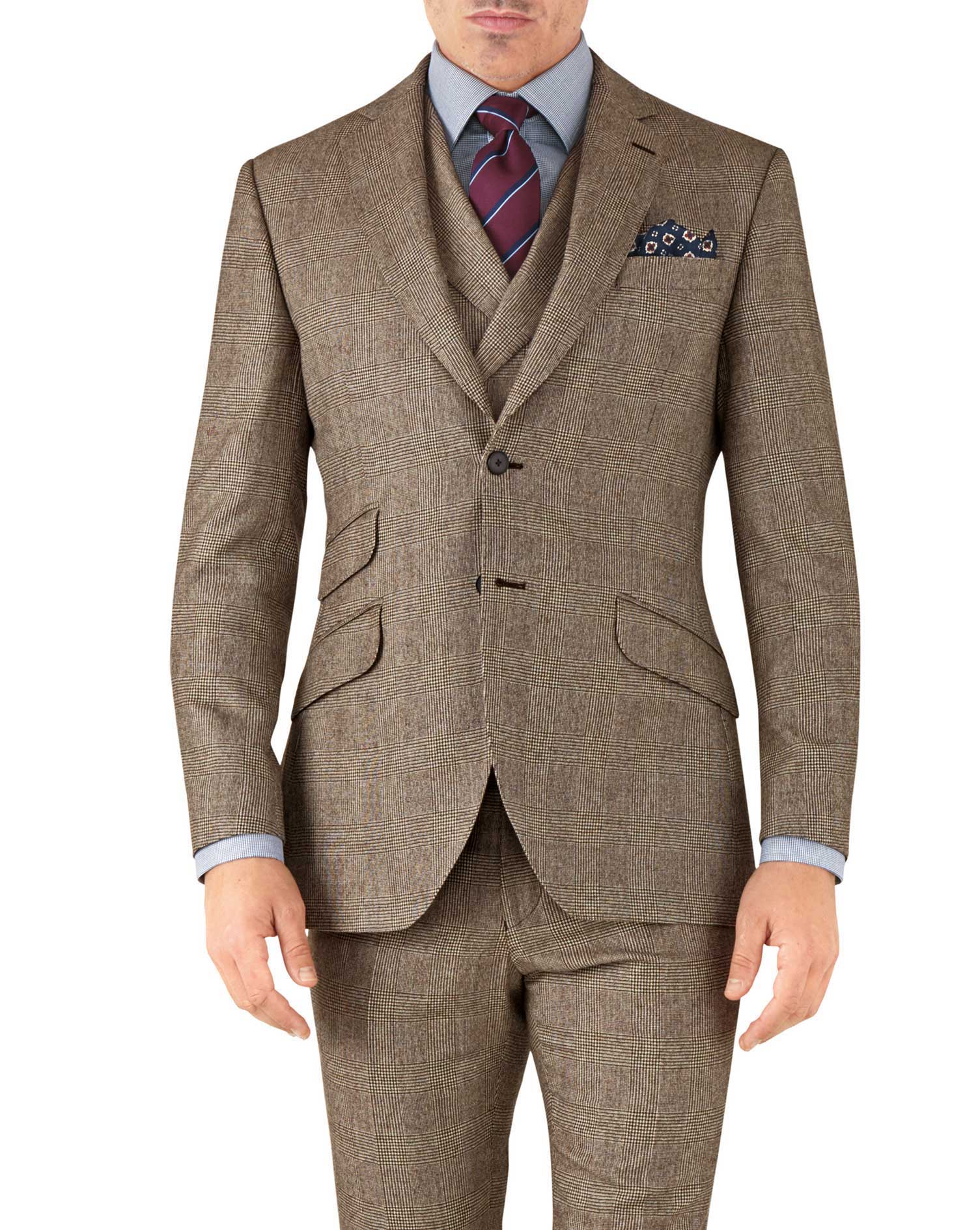 Tan Check Slim Fit British Serge Luxury Suit Wool Jacket Size 36 Regular by Charles Tyrwhitt