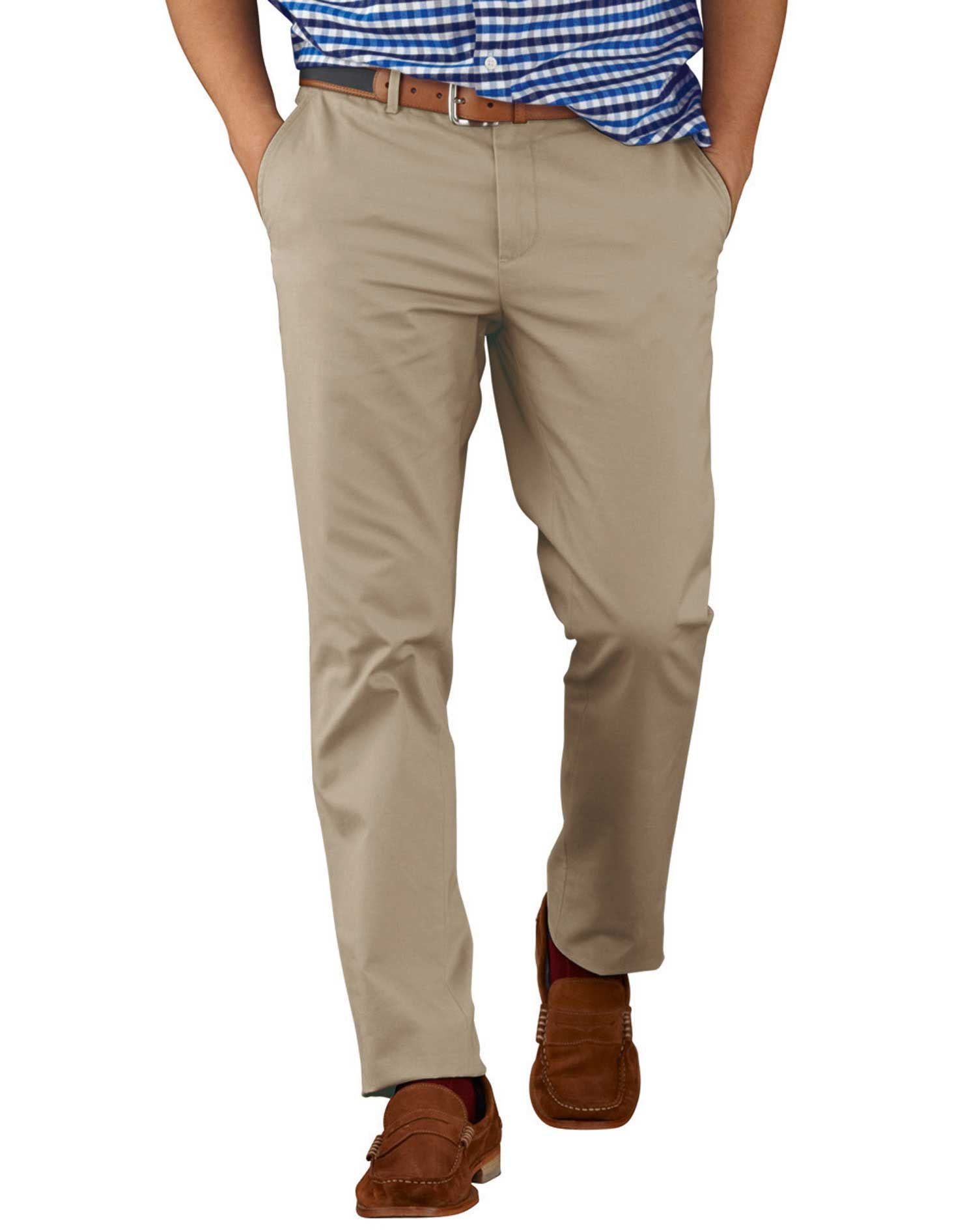 Stone Extra Slim Fit Flat Front Cotton Chino Trousers Size W32 L29 by Charles Tyrwhitt