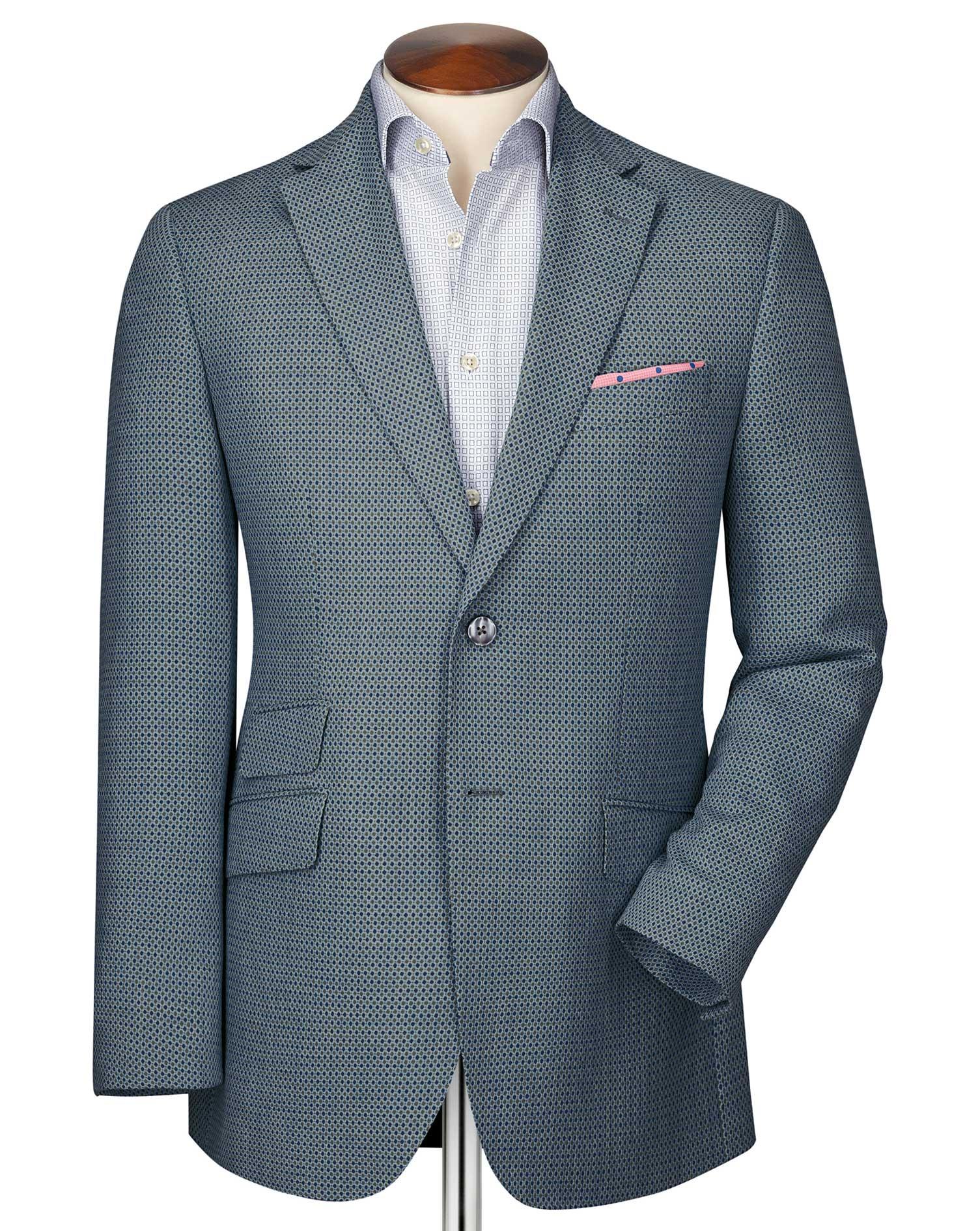 Slim Fit Grey Birdseye Wool Wool Jacket Size 38 Long by Charles Tyrwhitt