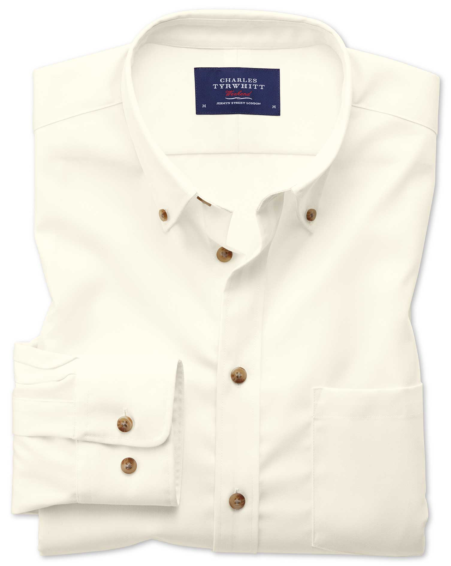 Extra Slim Fit Button-Down Non-Iron Twill Off-White Plain Cotton Shirt Single Cuff Size Medium by Ch