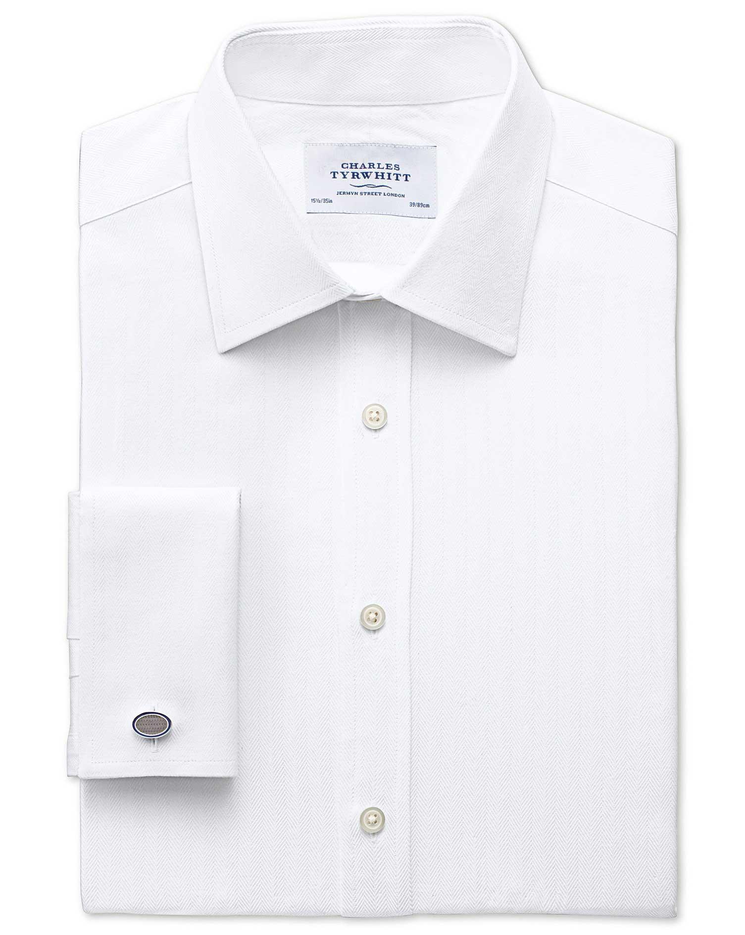 Classic Fit Pima Cotton Herringbone White Formal Shirt Single Cuff Size 16/38 by Charles Tyrwhitt