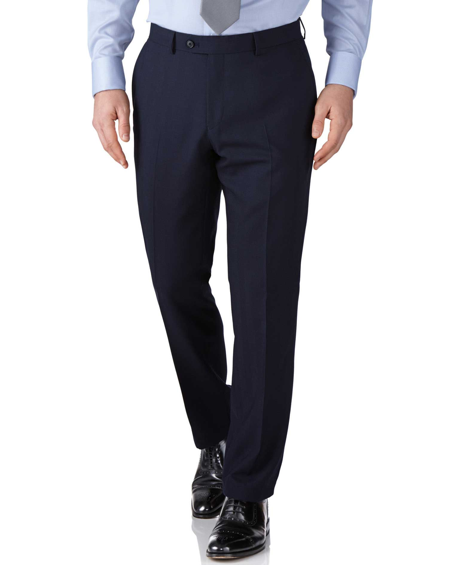 Navy Slim Fit Herringbone Business Suit Trousers Size W30 L38 by Charles Tyrwhitt