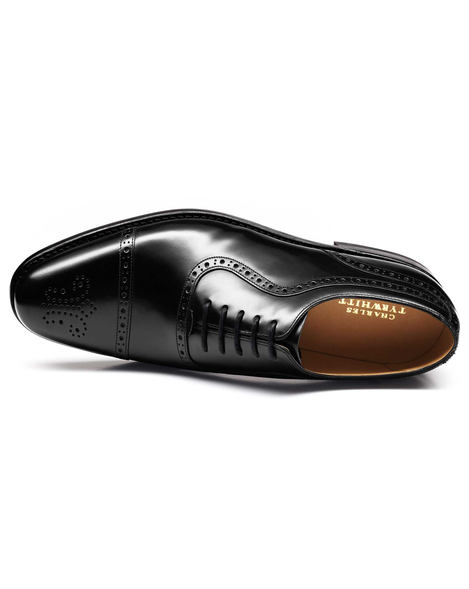 Black Parker Toe Cap Brogue Oxford Shoes Size 10 W by Charles Tyrwhitt