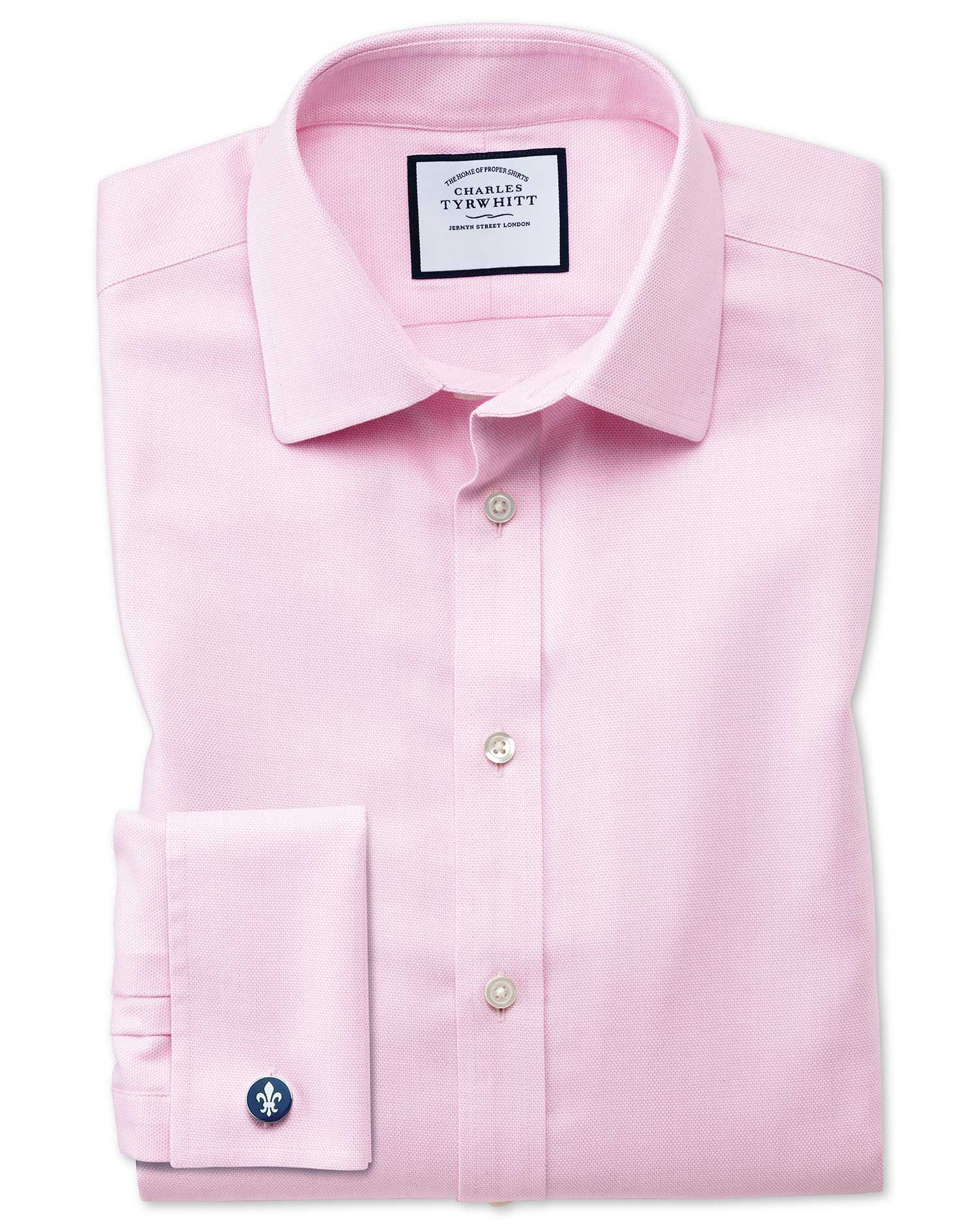 Classic Fit Non-Iron Step Weave Pink Cotton Formal Shirt Single Cuff Size 18/36 by Charles Tyrwhitt