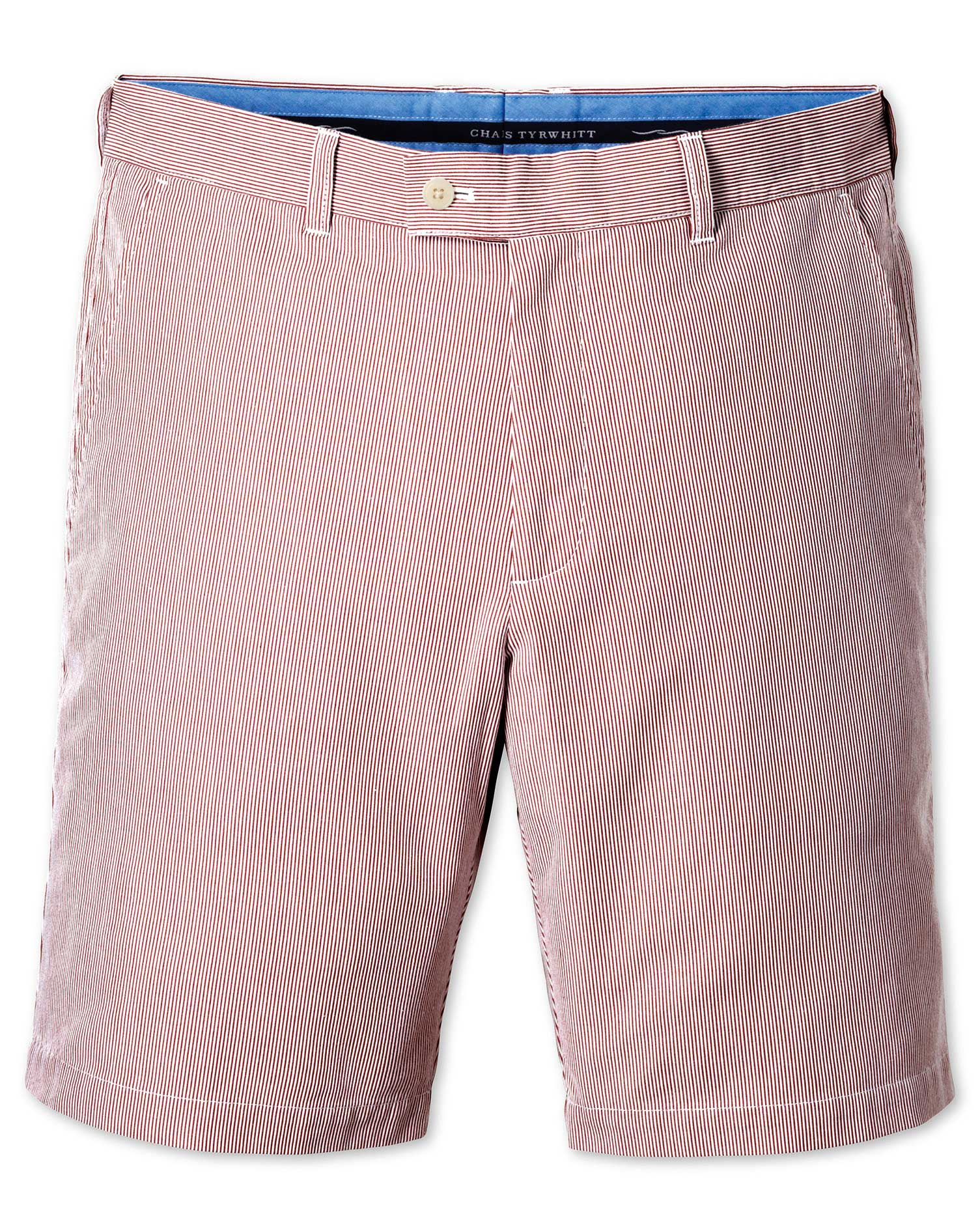 Red Slim Fit Hairline Stripe Cotton Shorts Size 38 by Charles Tyrwhitt