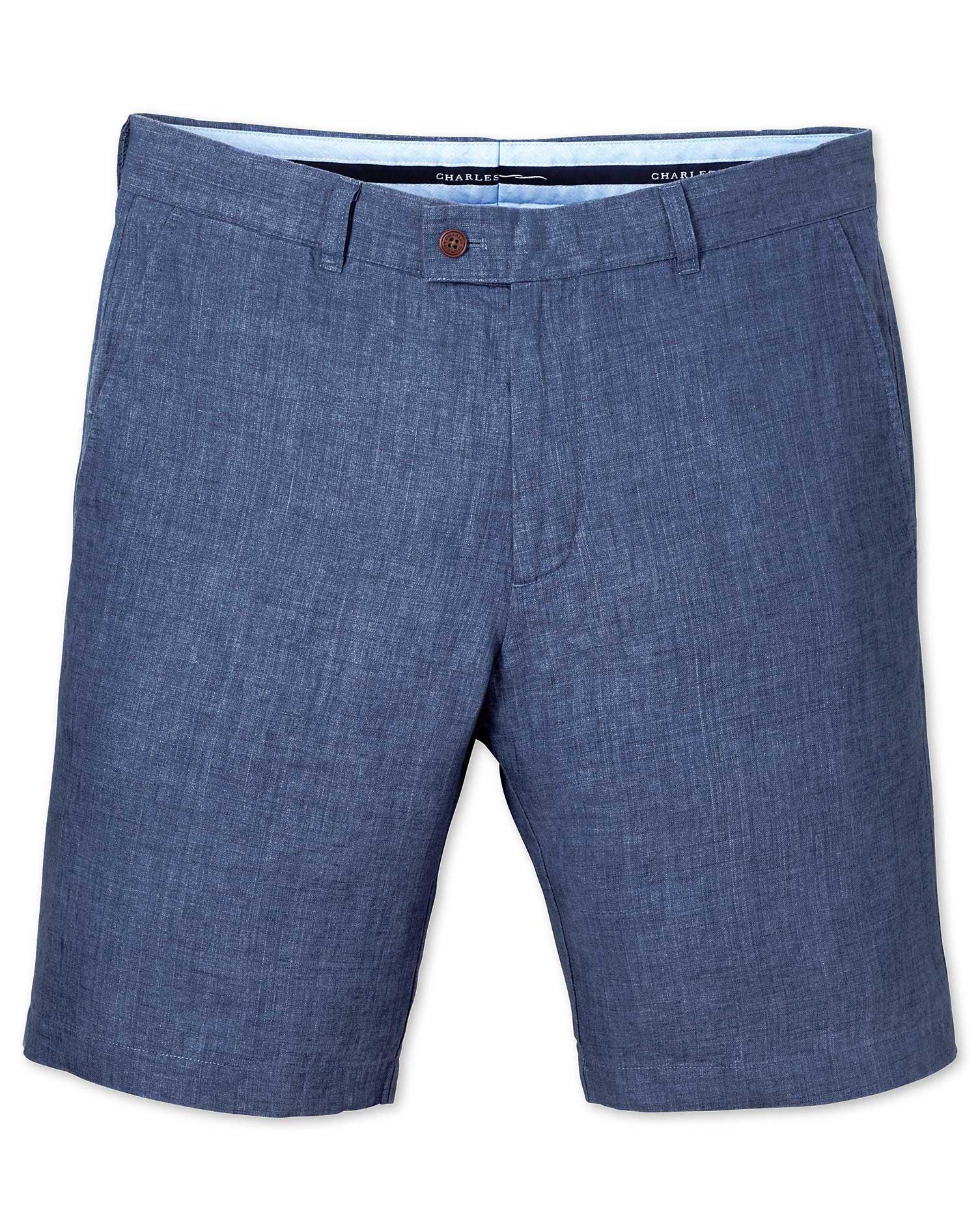 Blue Slim Fit Linen Shorts Size 40 by Charles Tyrwhitt