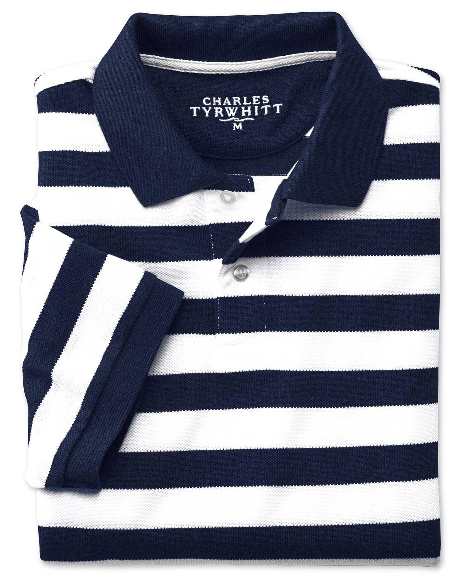 Navy and White Stripe Pique Cotton Polo Size Medium by Charles Tyrwhitt