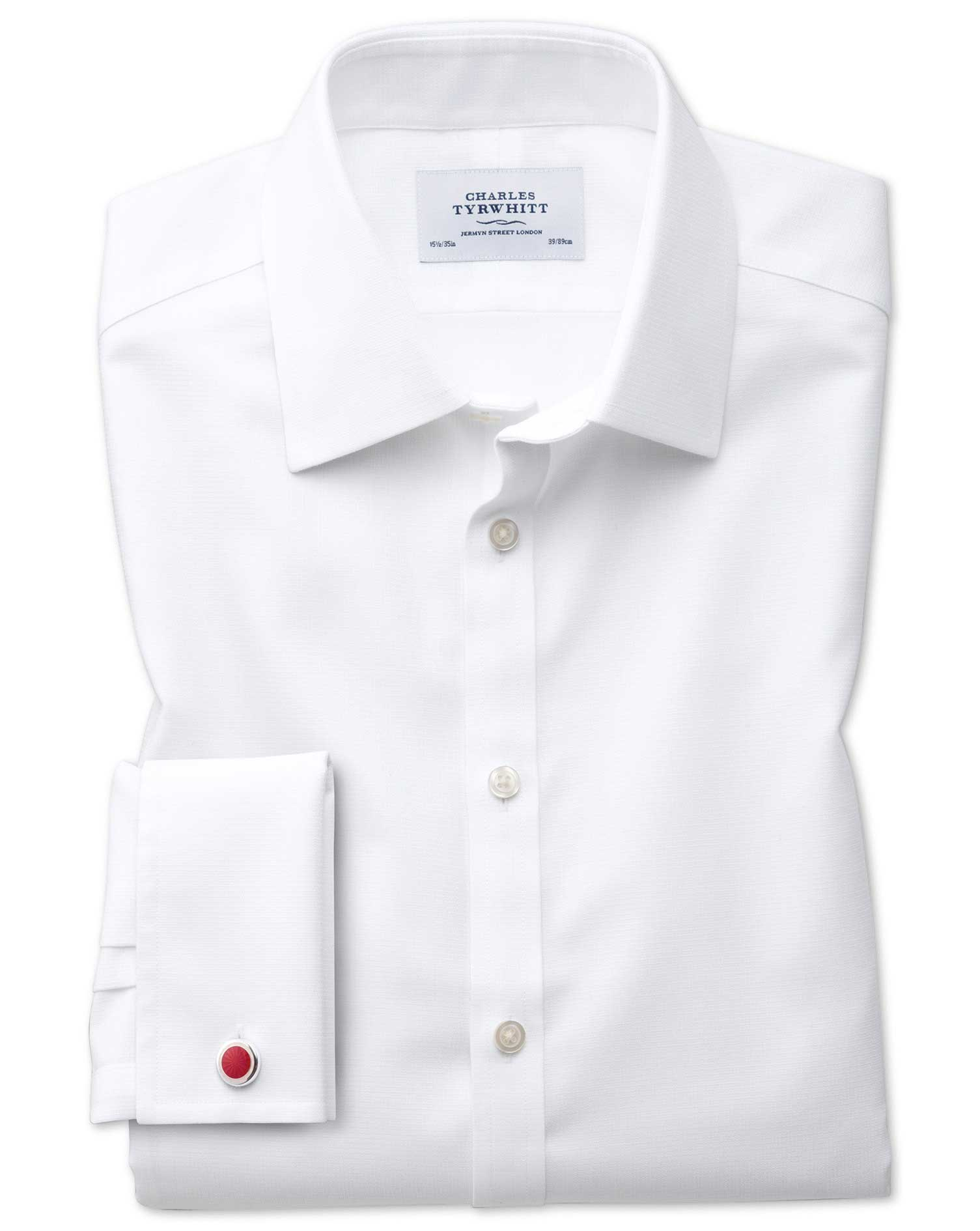 Classic Fit Non-Iron Square Weave White Cotton Formal Shirt Single Cuff Size 16/36 by Charles Tyrwhi