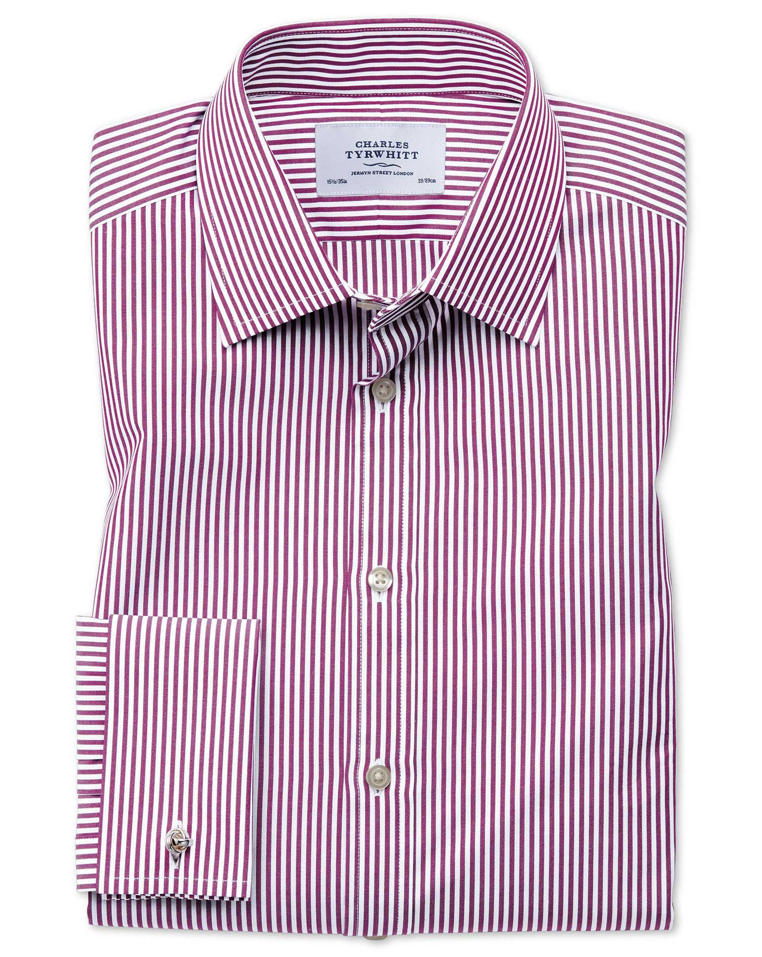 Classic Fit Bengal Stripe Purple Cotton Formal Shirt Double Cuff Size 18/35 by Charles Tyrwhitt