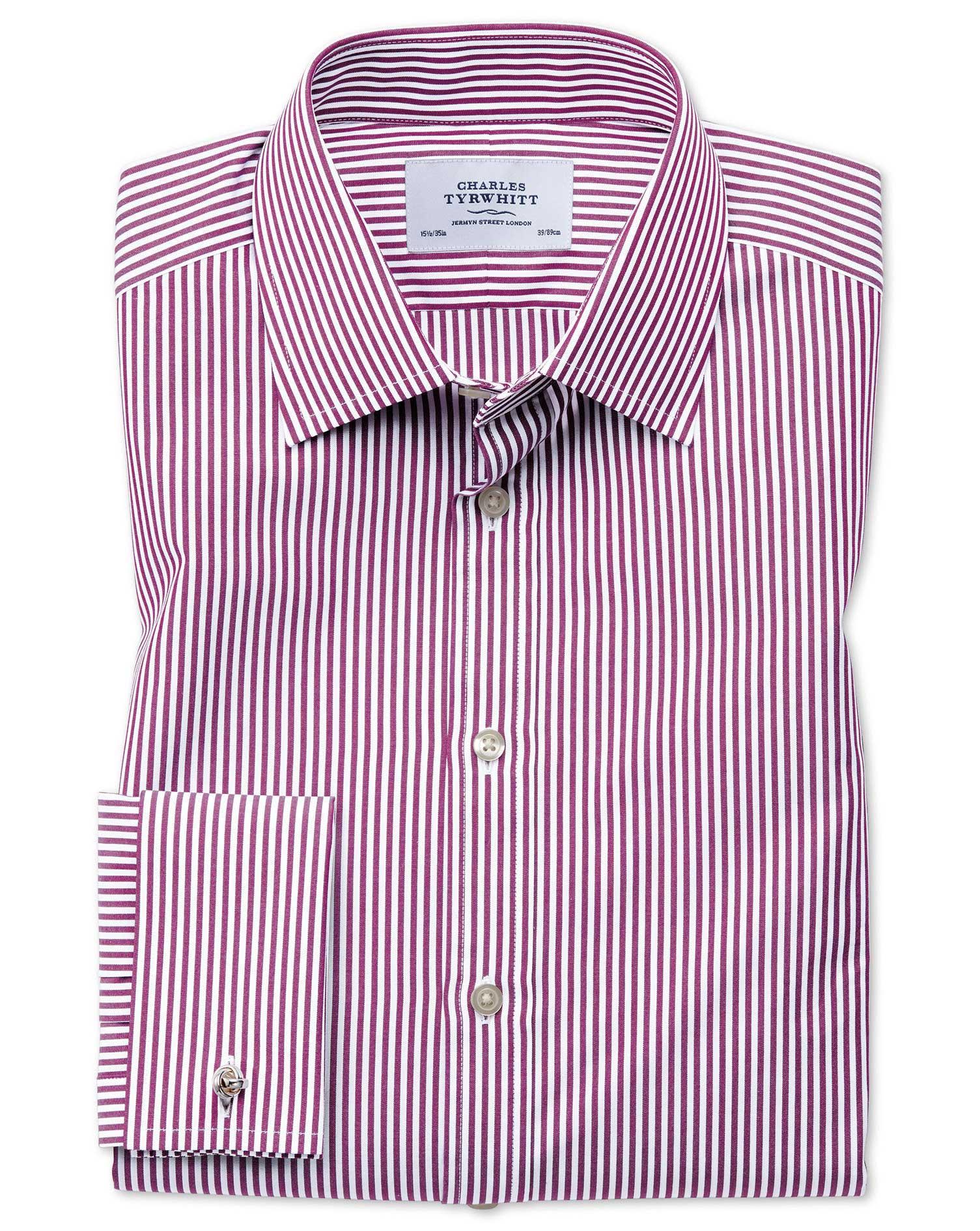 Classic Fit Bengal Stripe Purple Cotton Formal Shirt Single Cuff Size 18/35 by Charles Tyrwhitt