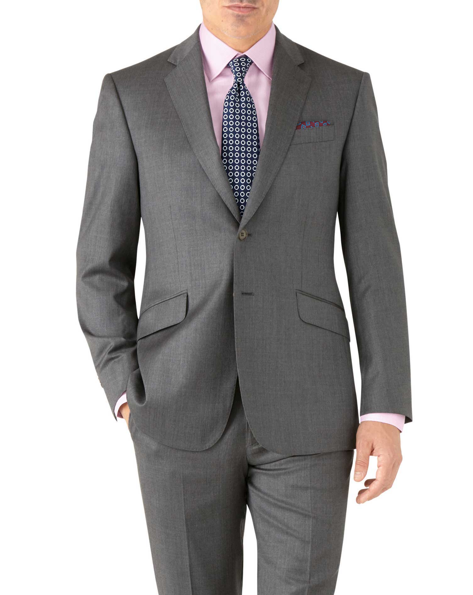 Grey Classic Fit Italian Suit Wool Jacket Size 40 Long by Charles Tyrwhitt