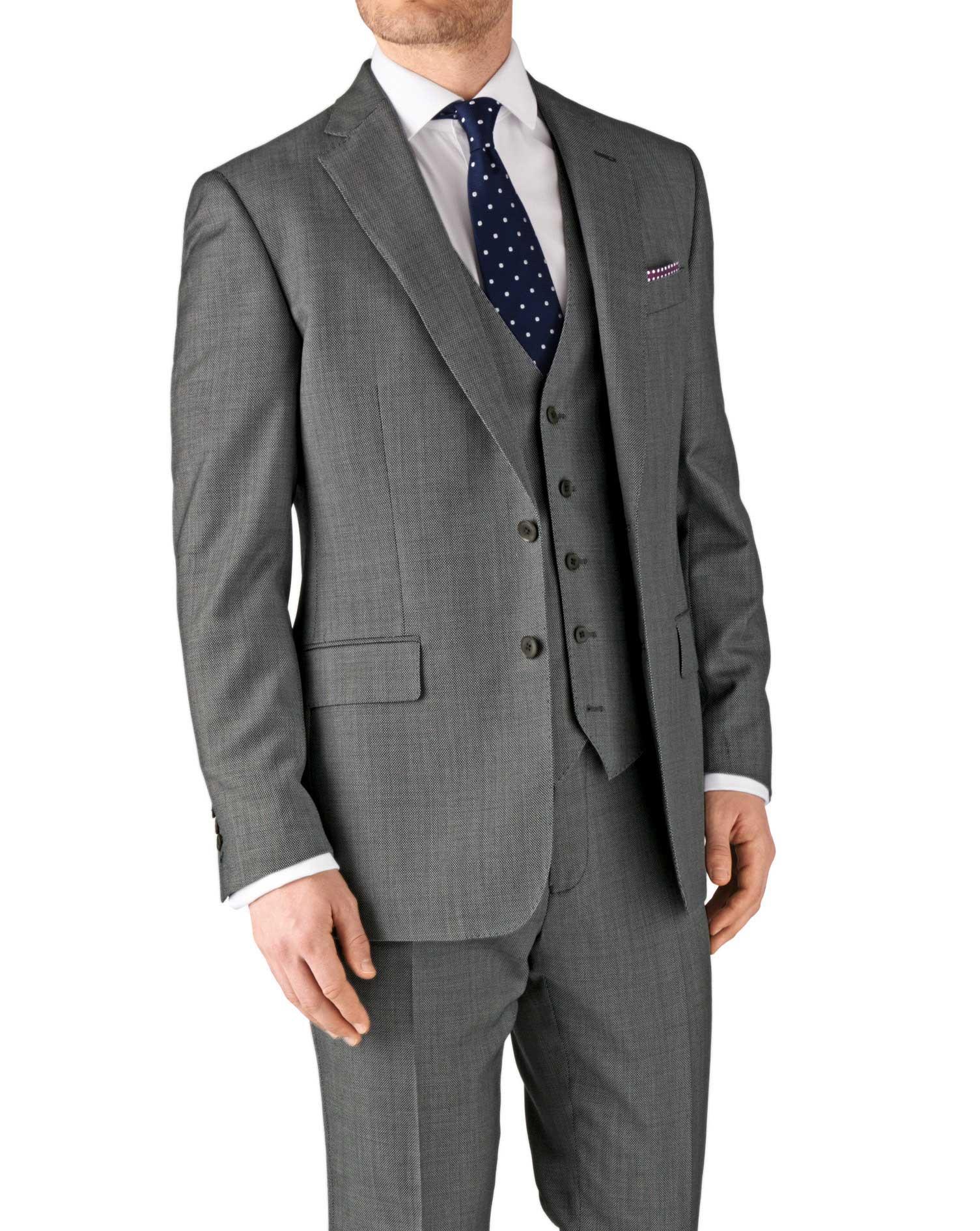 Grey Classic Fit Birdseye Travel Suit Wool Jacket Size 36 Regular by Charles Tyrwhitt