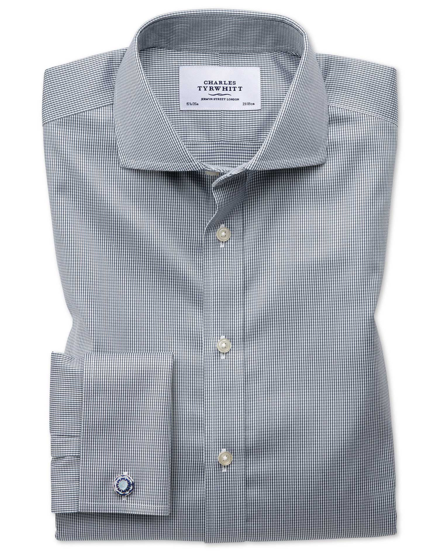 Extra Slim Fit Cutaway Non-Iron Puppytooth Dark Grey Cotton Formal Shirt Double Cuff Size 15.5/33 by