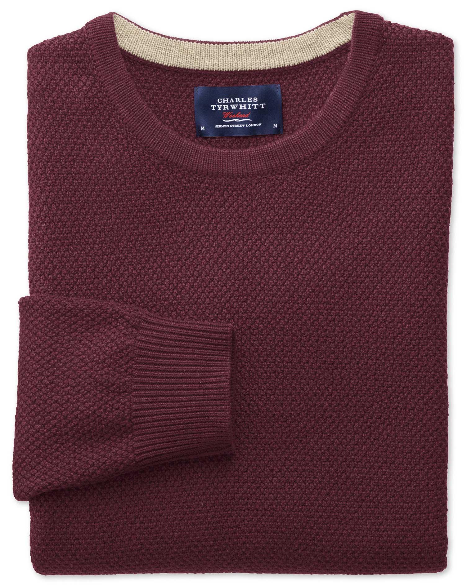 Wine Merino Cotton Crew Neck Wool Jumper Size XXXL by Charles Tyrwhitt
