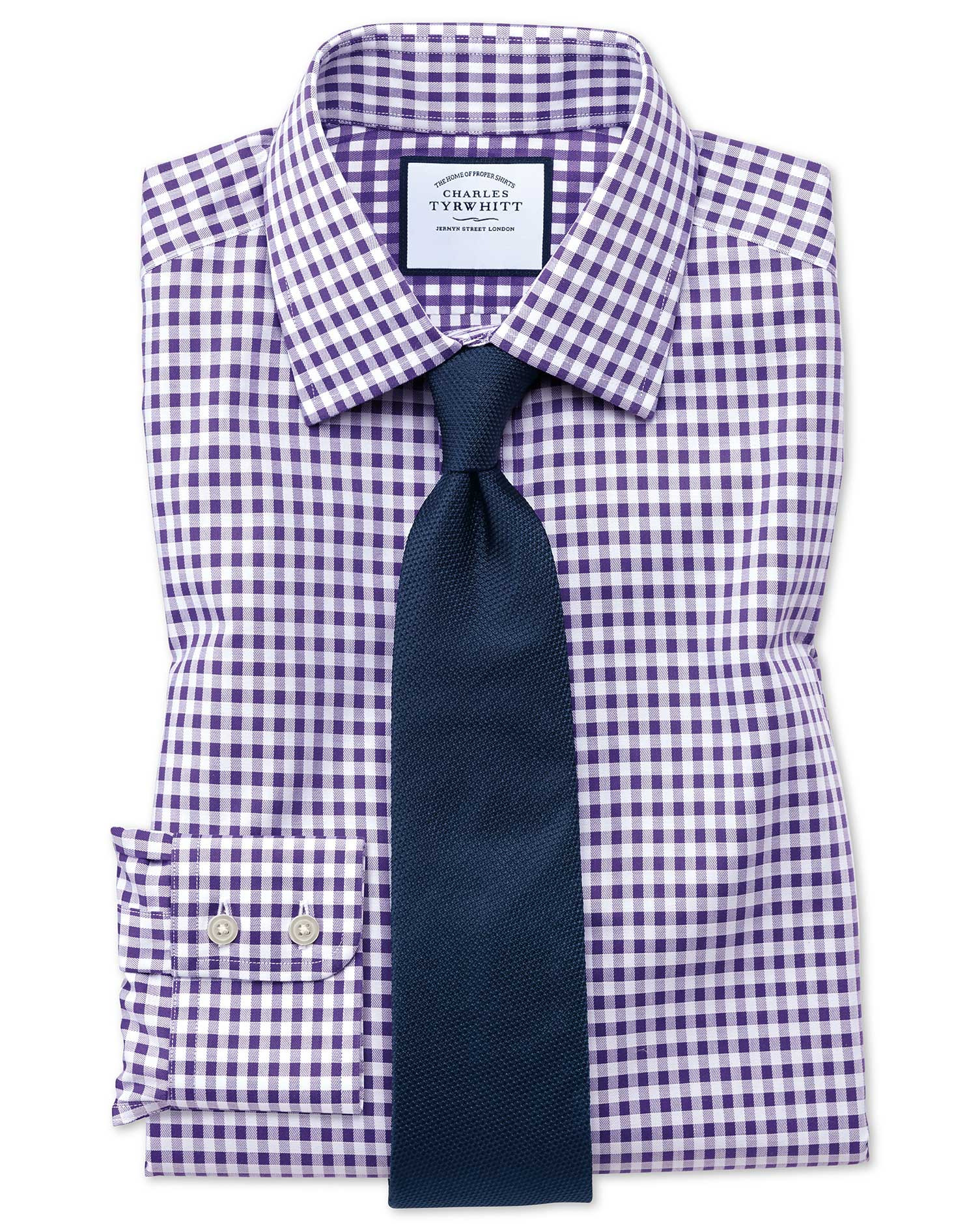 Slim Fit Non-Iron Gingham Purple Cotton Formal Shirt Single Cuff Size 17.5/35 by Charles Tyrwhitt