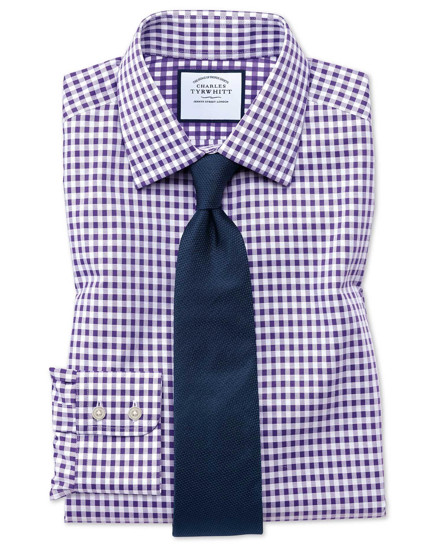 Slim Fit Non-Iron Gingham Purple Cotton Formal Shirt Single Cuff Size 16.5/33 by Charles Tyrwhitt