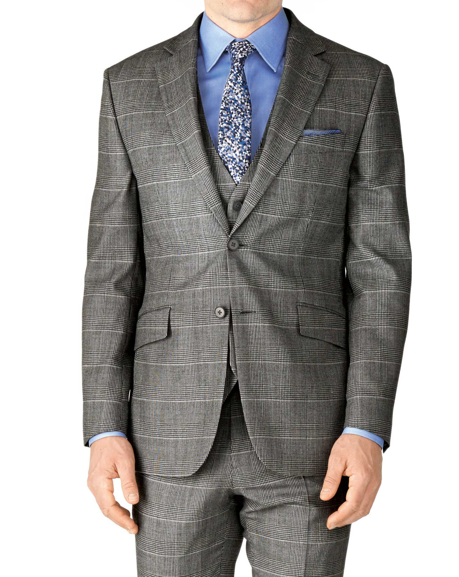 Grey Check Classic Fit Twill Business Suit Wool Jacket Size 36 Regular by Charles Tyrwhitt