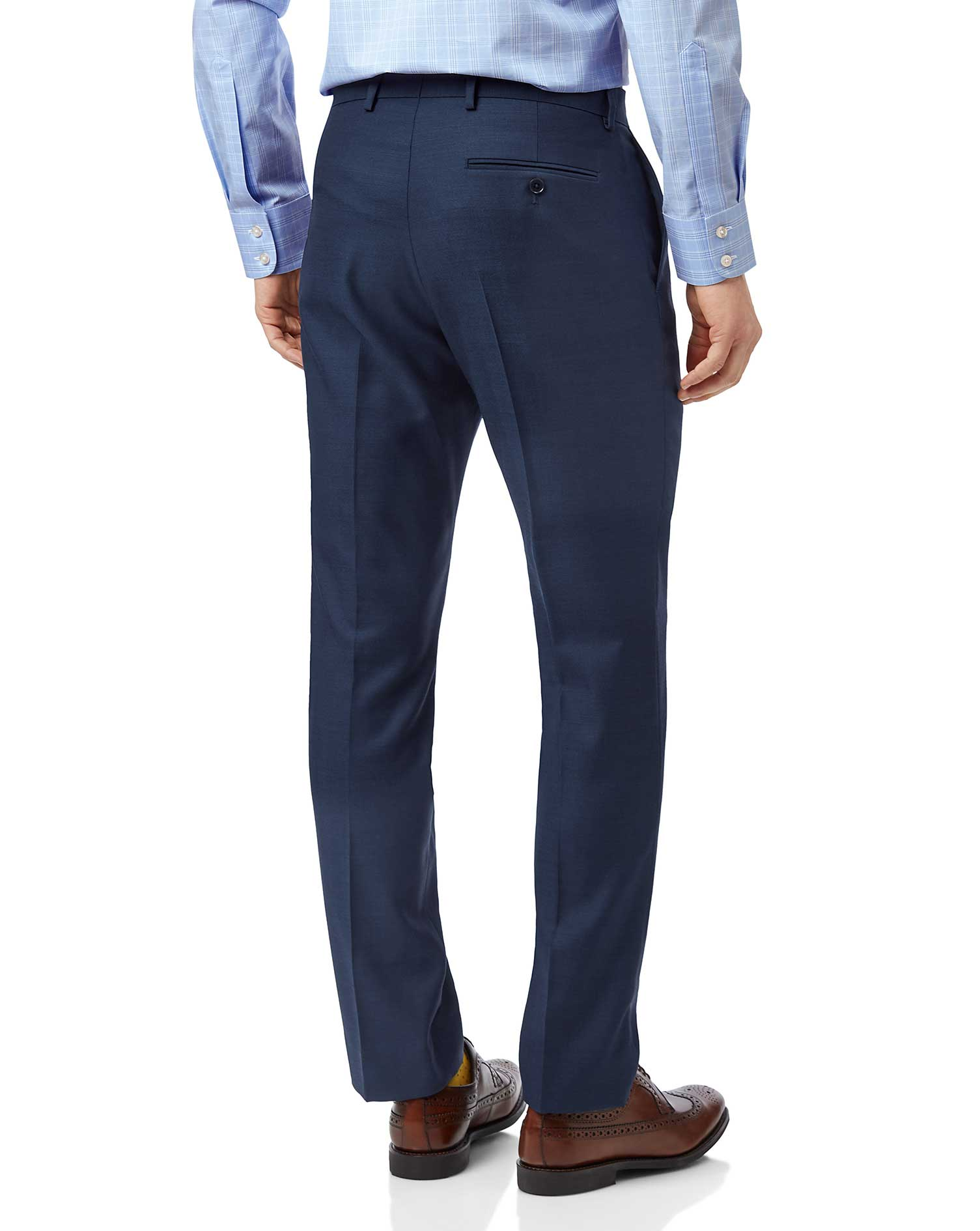 Blue slim fit twill business suit pants