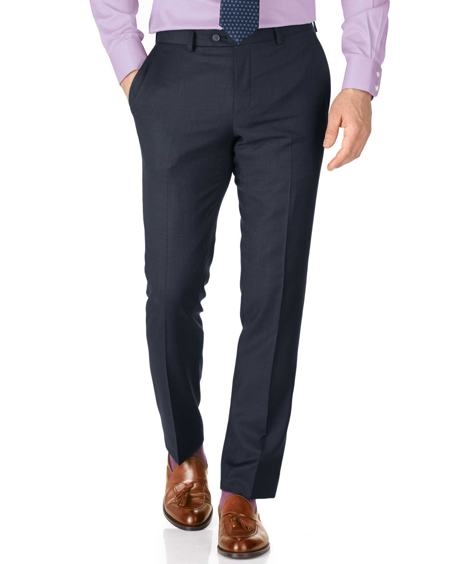 Blue slim fit sharkskin travel suit trousers