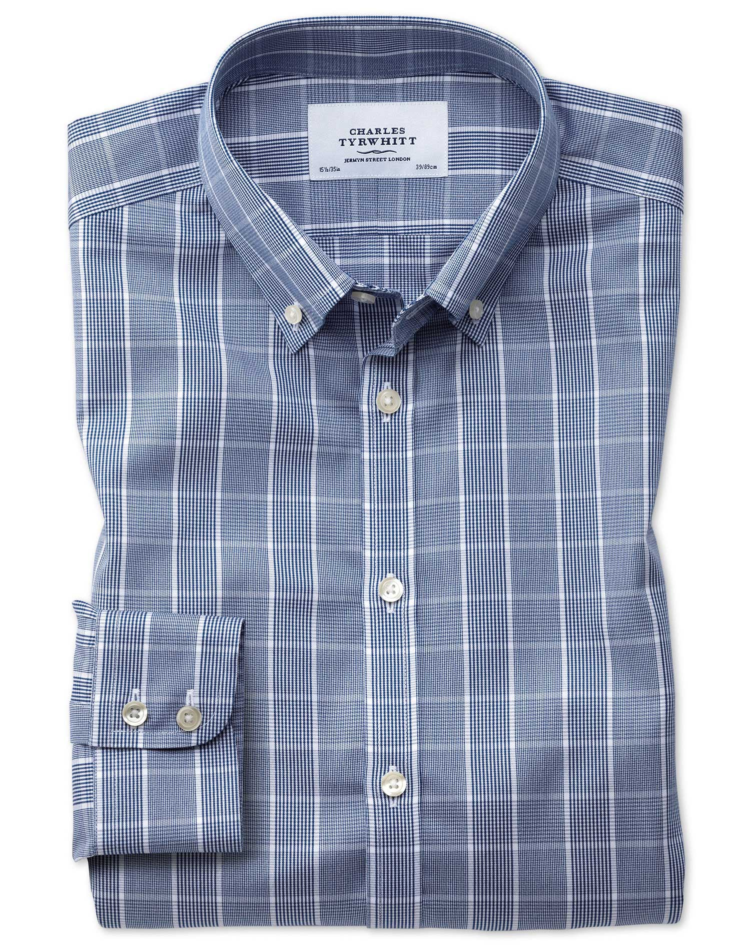 Extra Slim Fit Button-Down Non-Iron Prince Of Wales Navy Blue and White Cotton Formal Shirt Single C