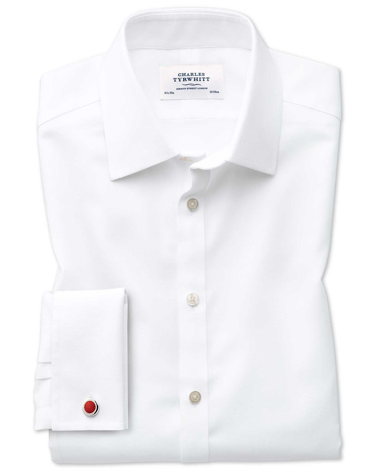 Slim Fit Non-Iron Square Weave White Cotton Formal Shirt Double Cuff Size 15.5/34 by Charles Tyrwhit