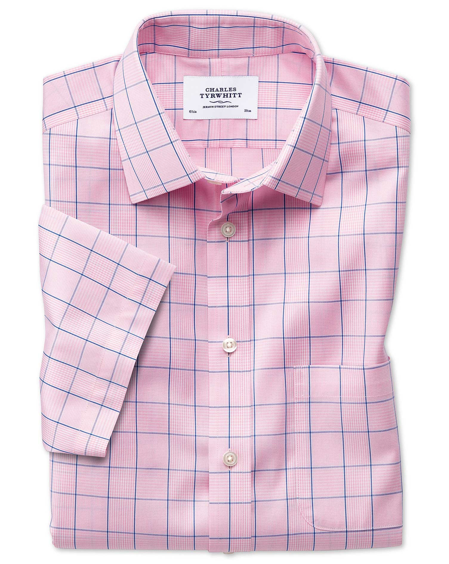 Classic Fit Non Iron Prince Of Wales Short Sleeve Pink