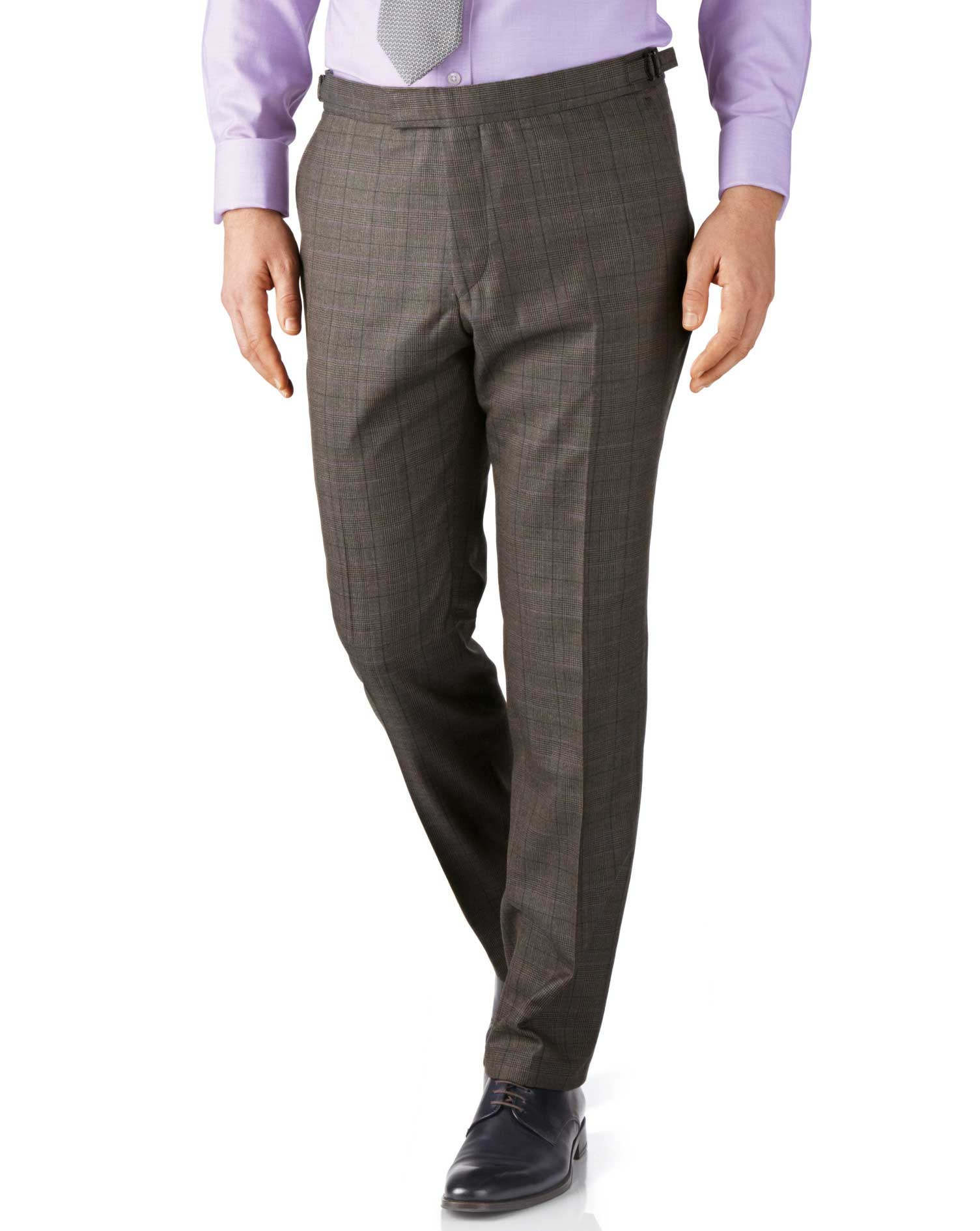 Brown Check Slim Fit British Panama Luxury Suit Trousers Size W40 L34 by Charles Tyrwhitt